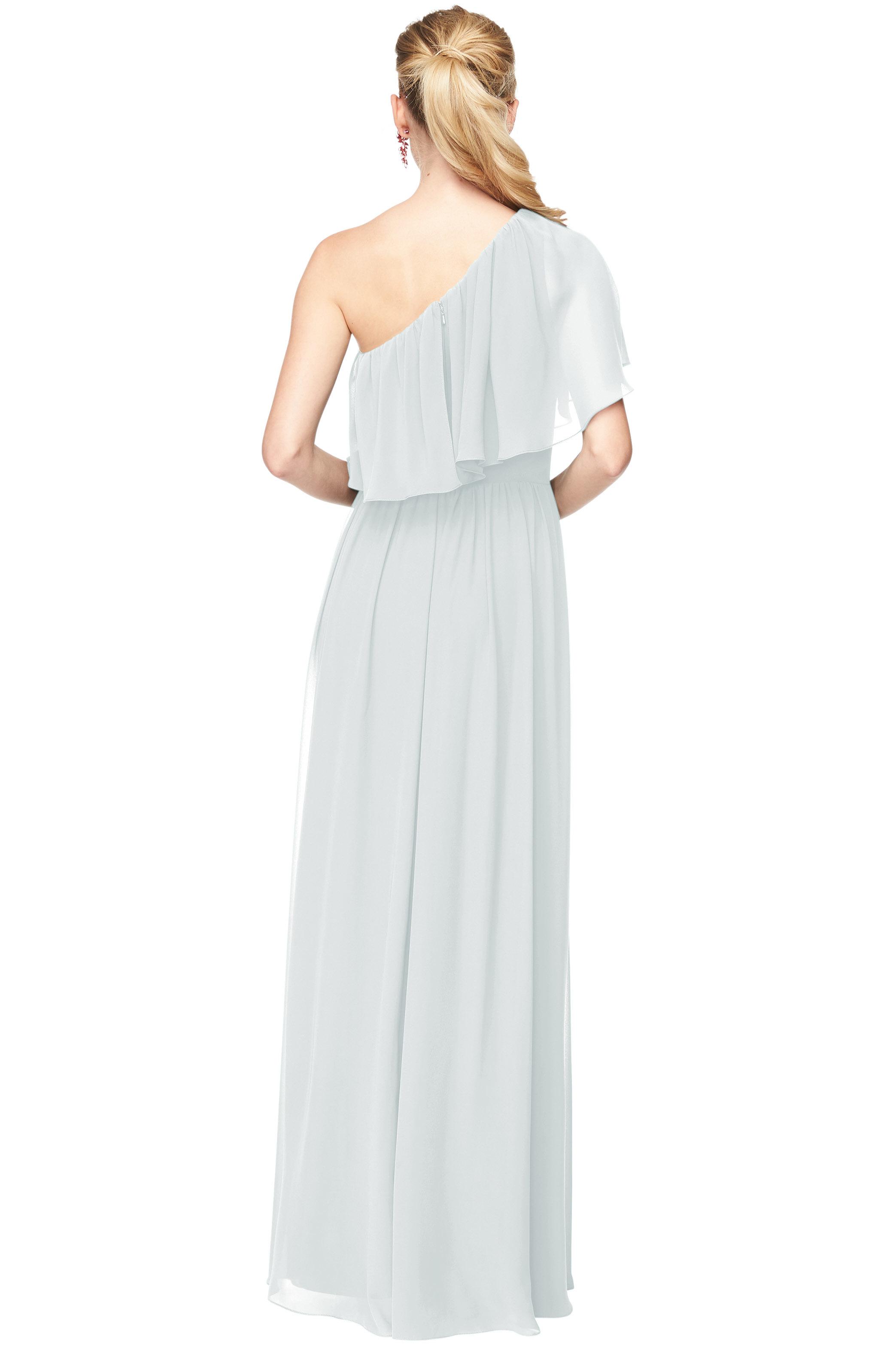Bill Levkoff MIST Chiffon One Shoulder A-Line gown, $184.00 Back