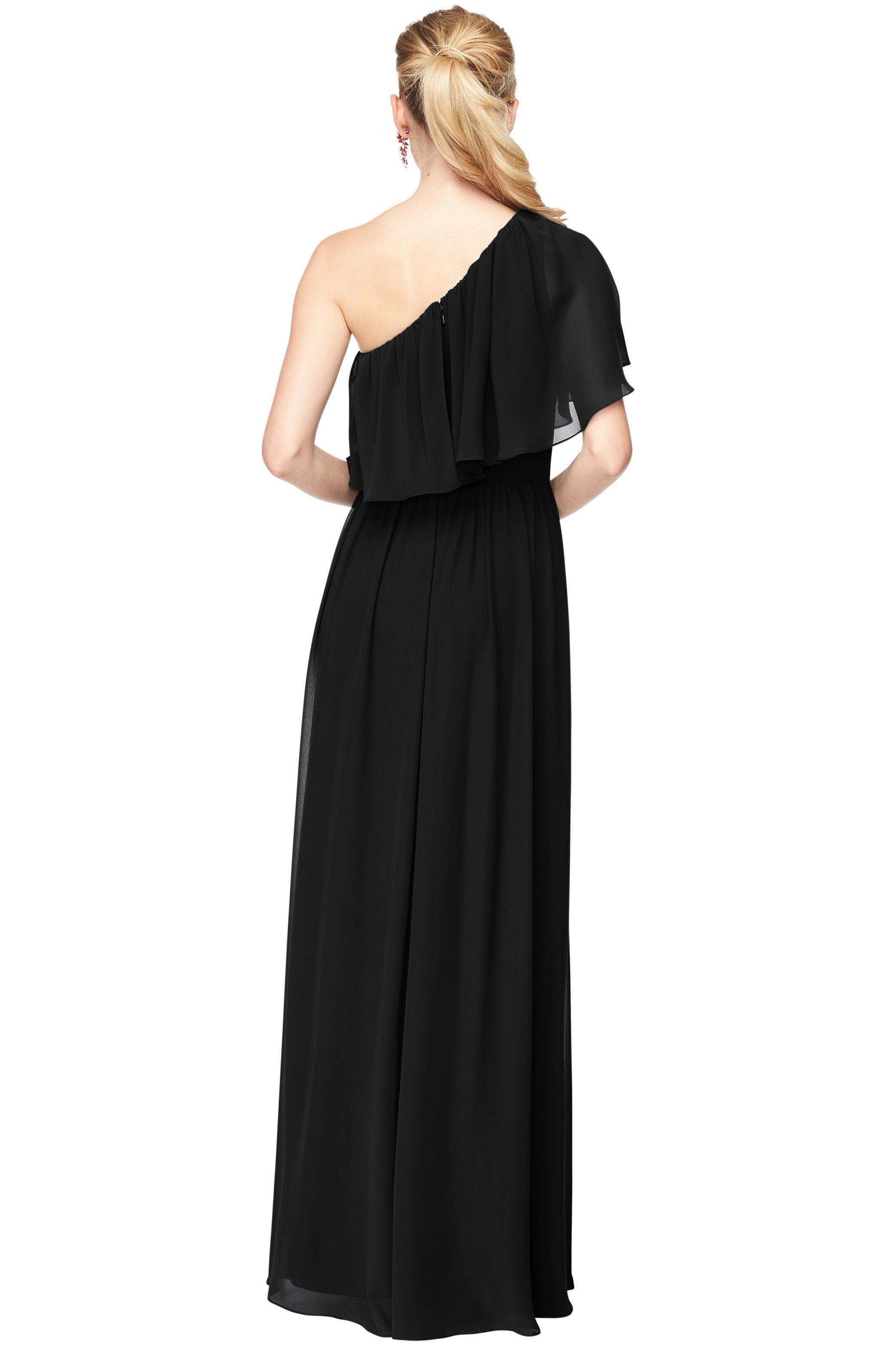 Bill Levkoff BLACK Chiffon One Shoulder A-Line gown, $184.00 Back
