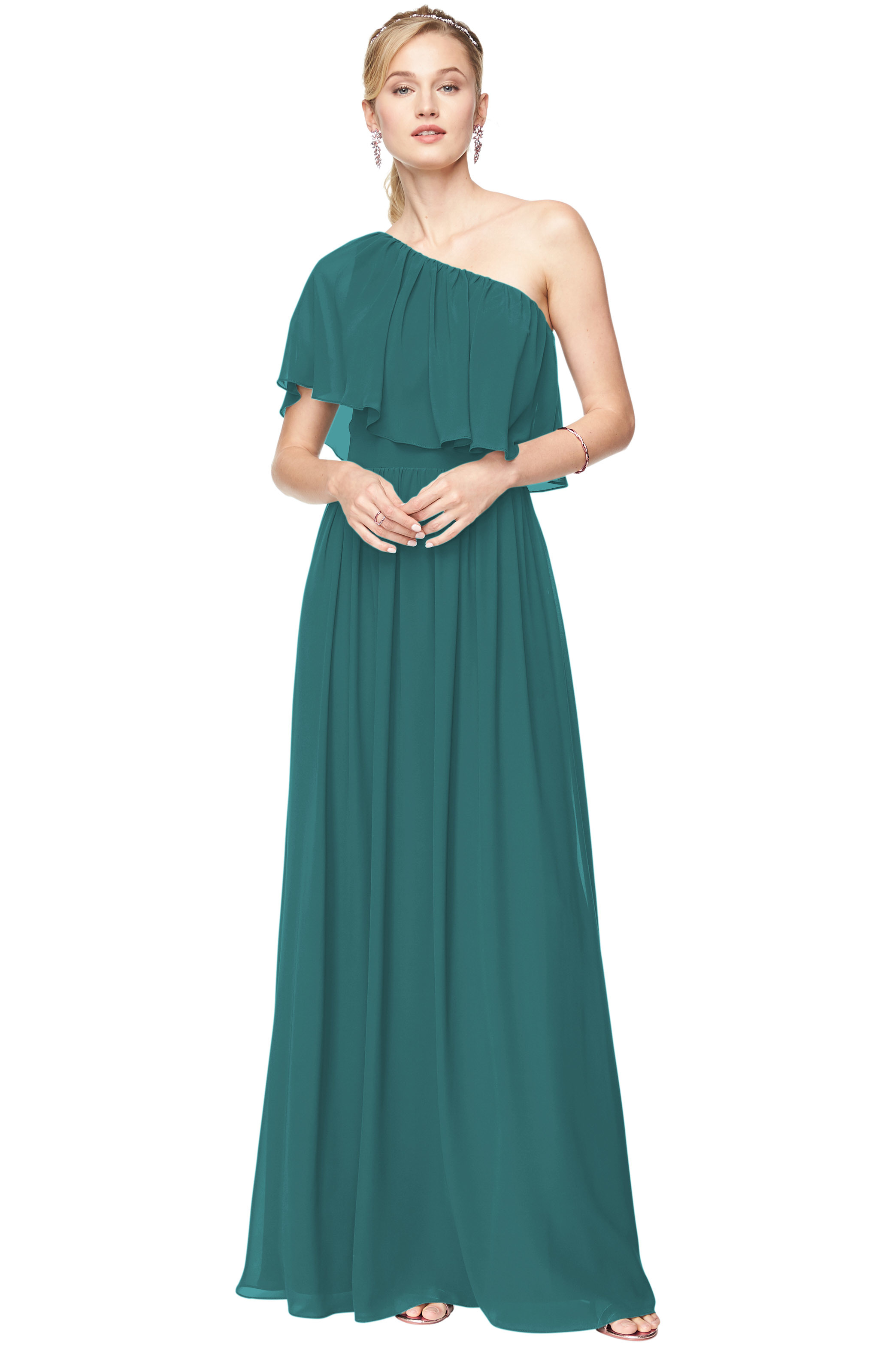 Bill Levkoff OASIS Chiffon One-Shoulder A-Line gown, $156.40 Front