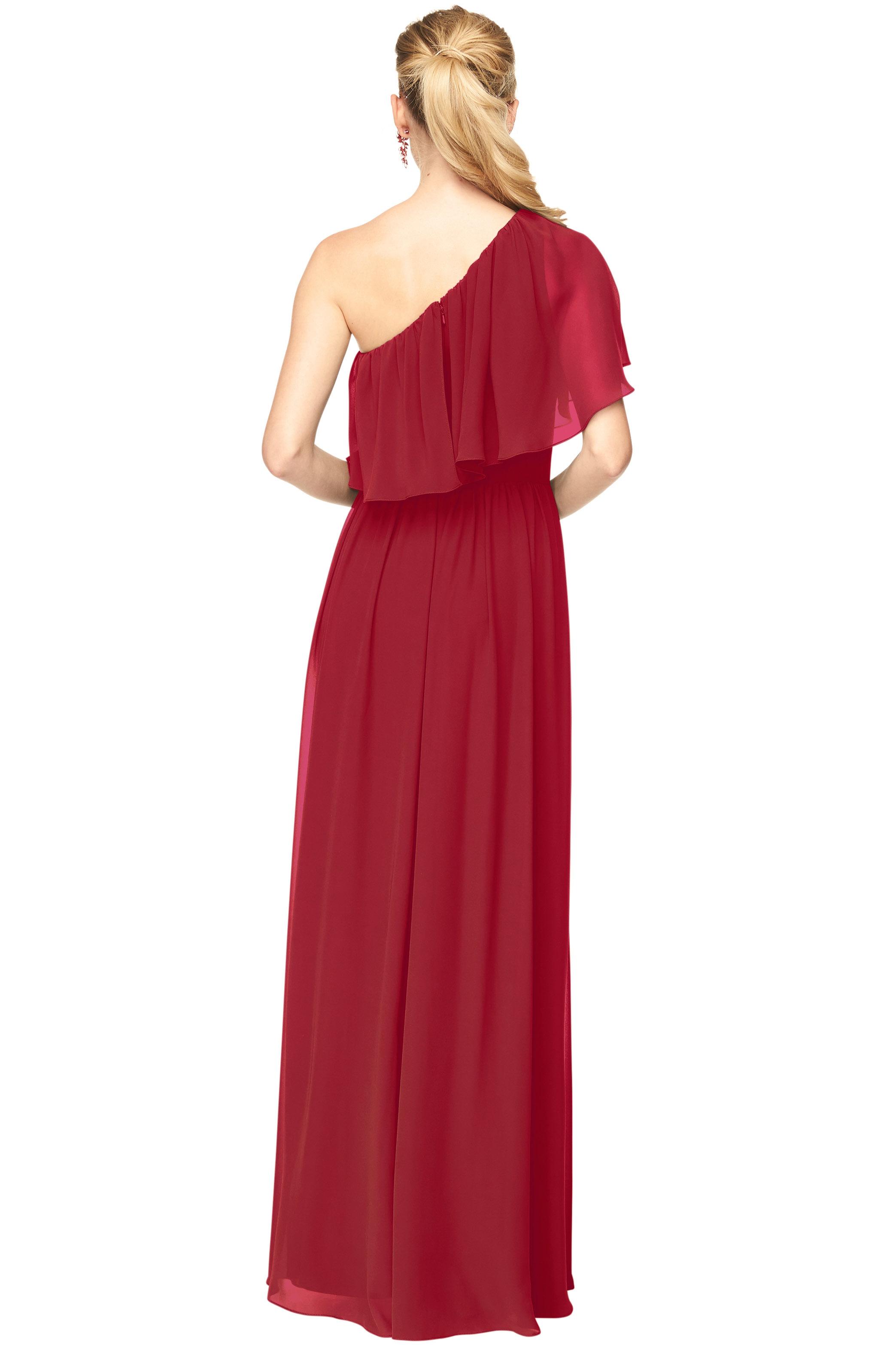 Bill Levkoff CRANBERRY Chiffon One Shoulder A-Line gown, $184.00 Back