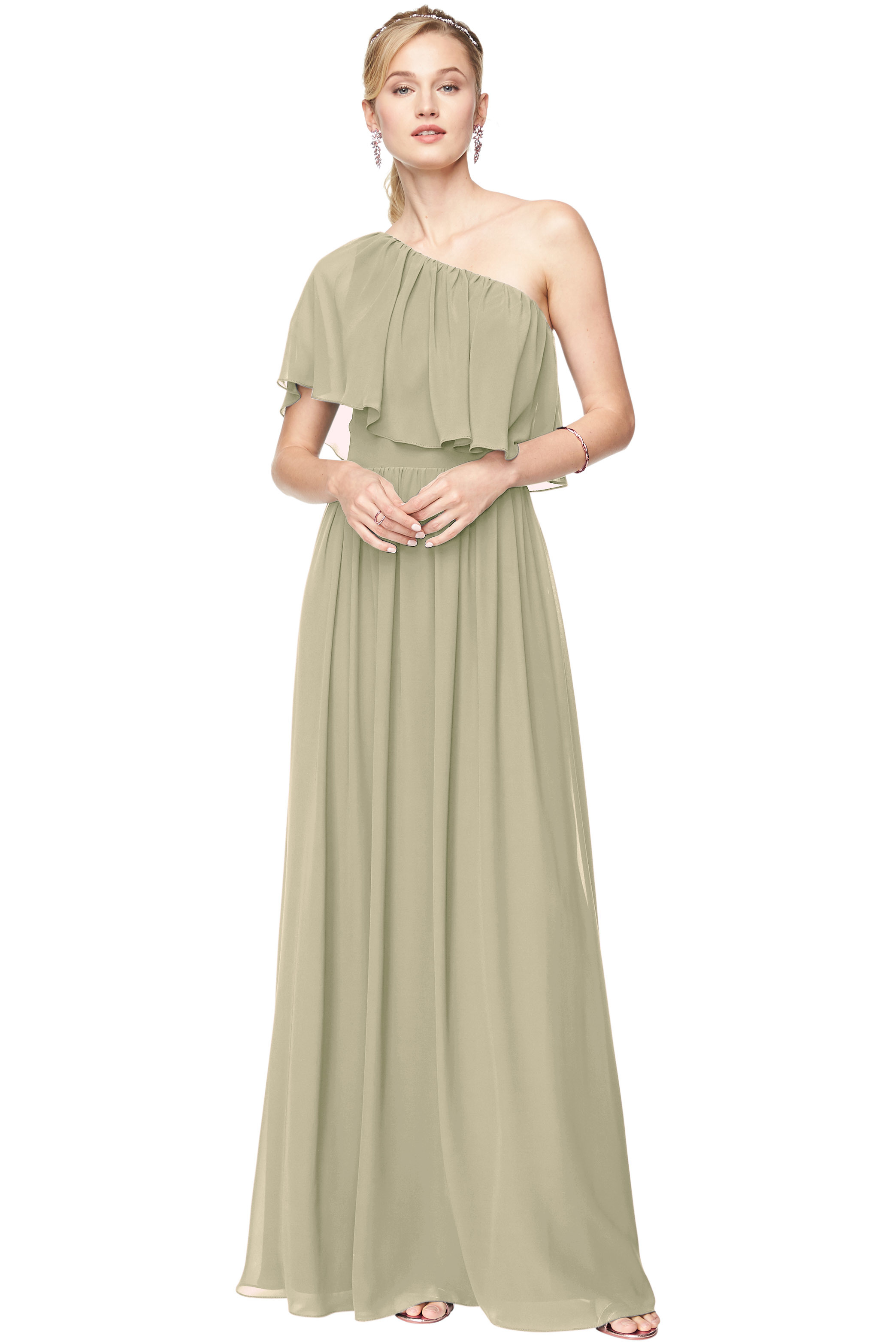 Bill Levkoff PISTACHIO Chiffon One Shoulder A-Line gown, $184.00 Front
