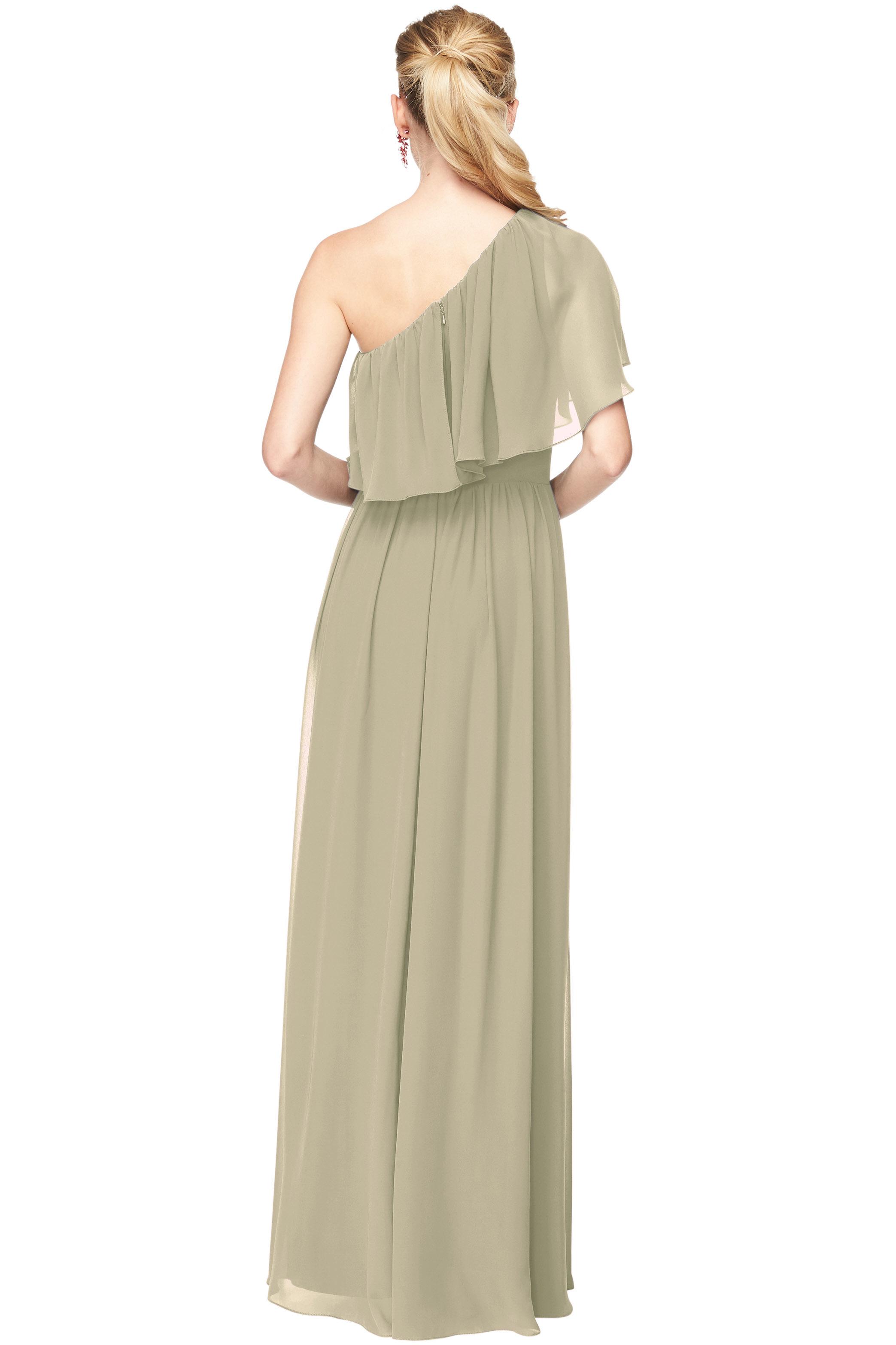 Bill Levkoff PISTACHIO Chiffon One Shoulder A-Line gown, $184.00 Back