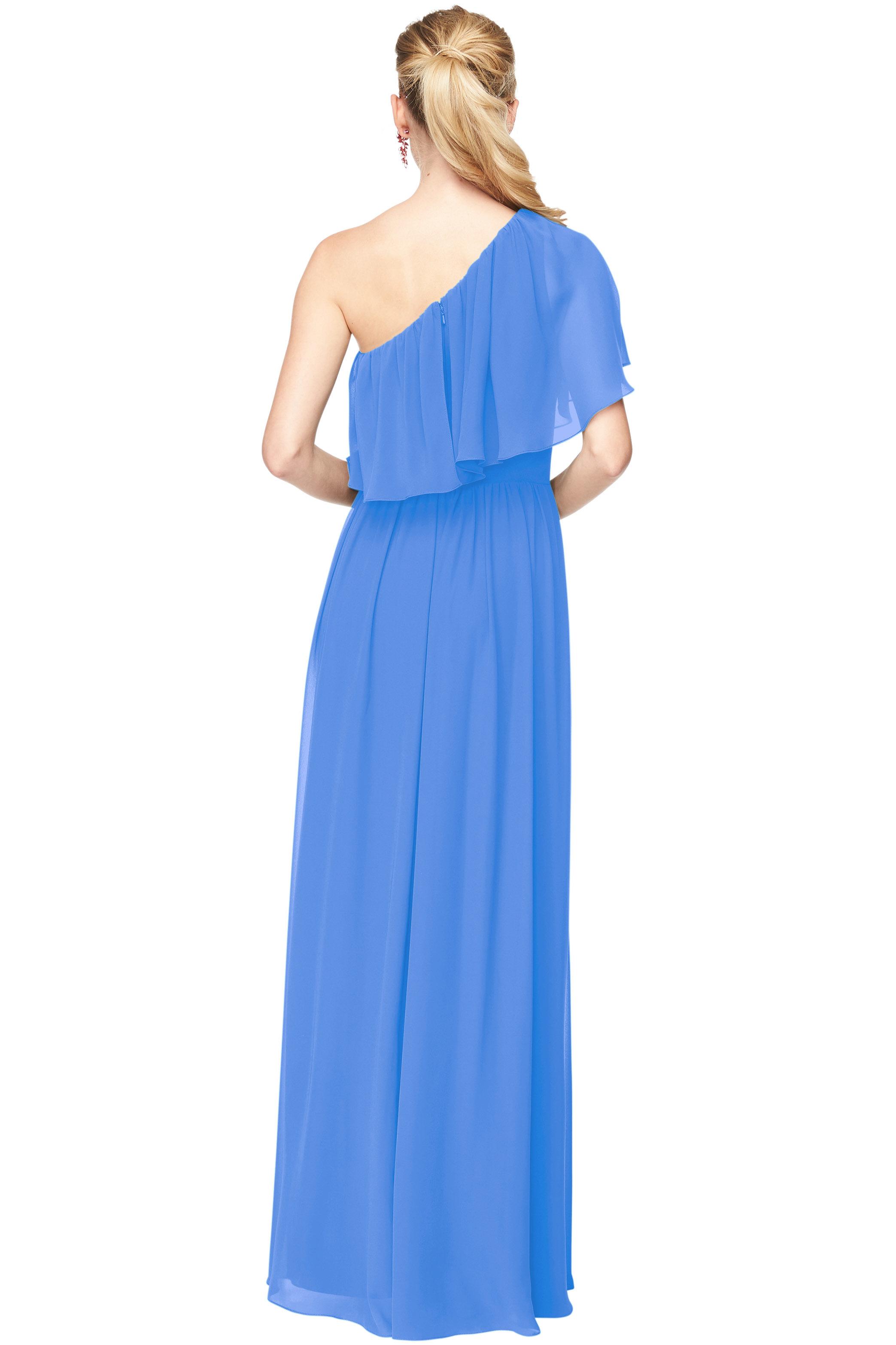 Bill Levkoff CORNFLOWER Chiffon One Shoulder A-Line gown, $184.00 Back