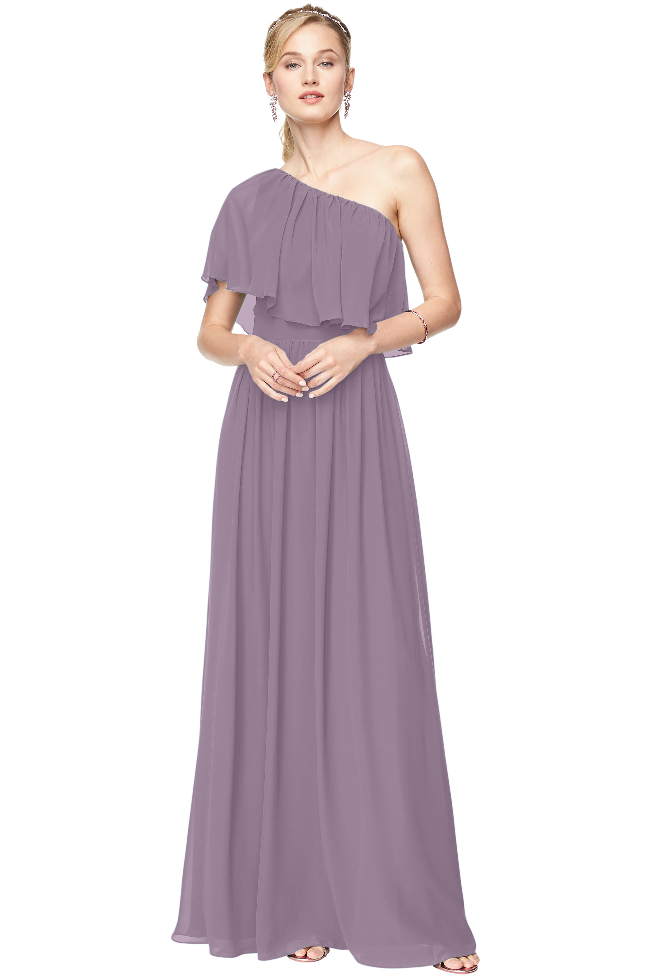 Bill Levkoff VICTORIAN LILAC Chiffon One Shoulder A-Line gown, $184.00 Front