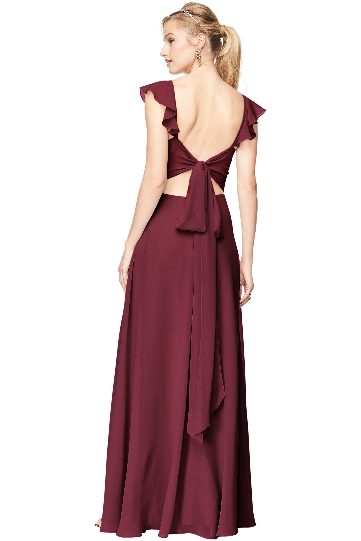 Bill Levkoff WINE Chiffon V-Neck, Cap Sleeve A-line gown, $198.00 Back