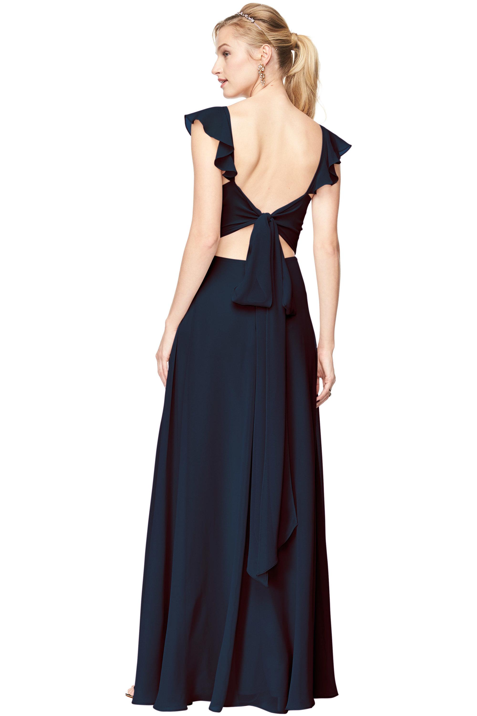 Bill Levkoff NAVY Chiffon V-Neck A-line gown, $198.00 Back