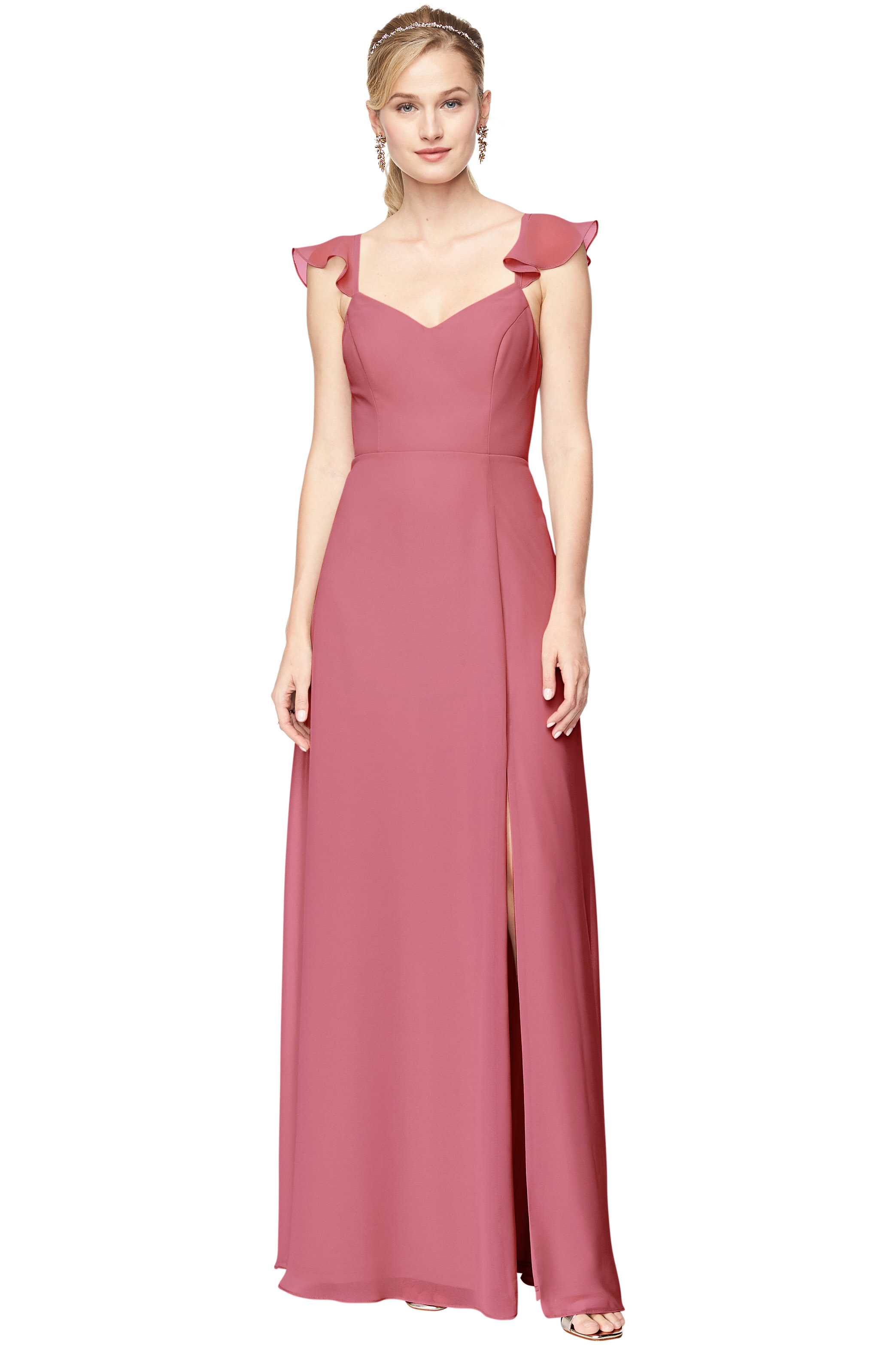 Bill Levkoff ROSEWOOD Chiffon V-Neck, Cap Sleeve A-line gown, $198.00 Front