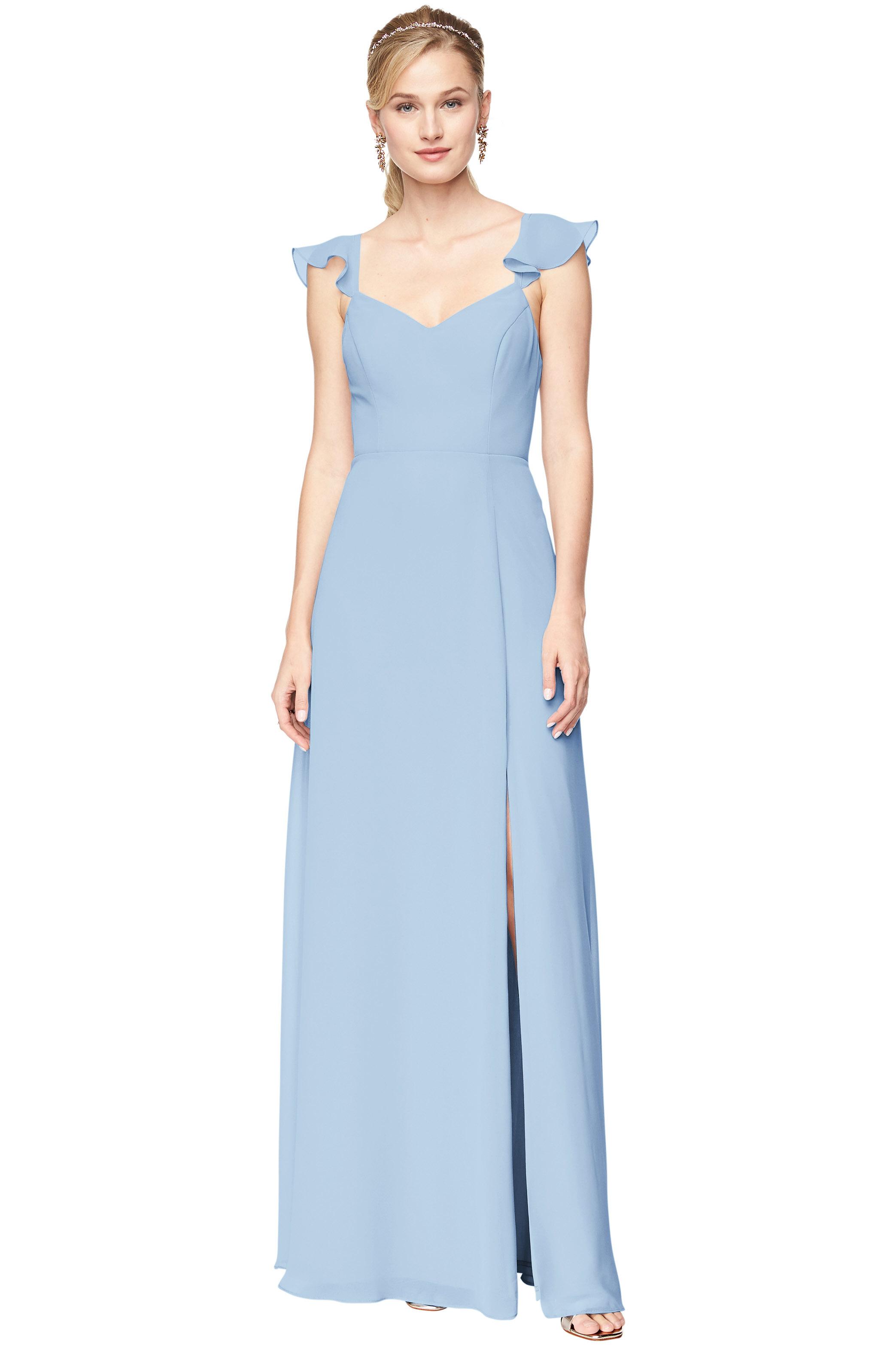 Bill Levkoff CAPRI Chiffon V-Neck, Cap Sleeve A-line gown, $168.30 Front