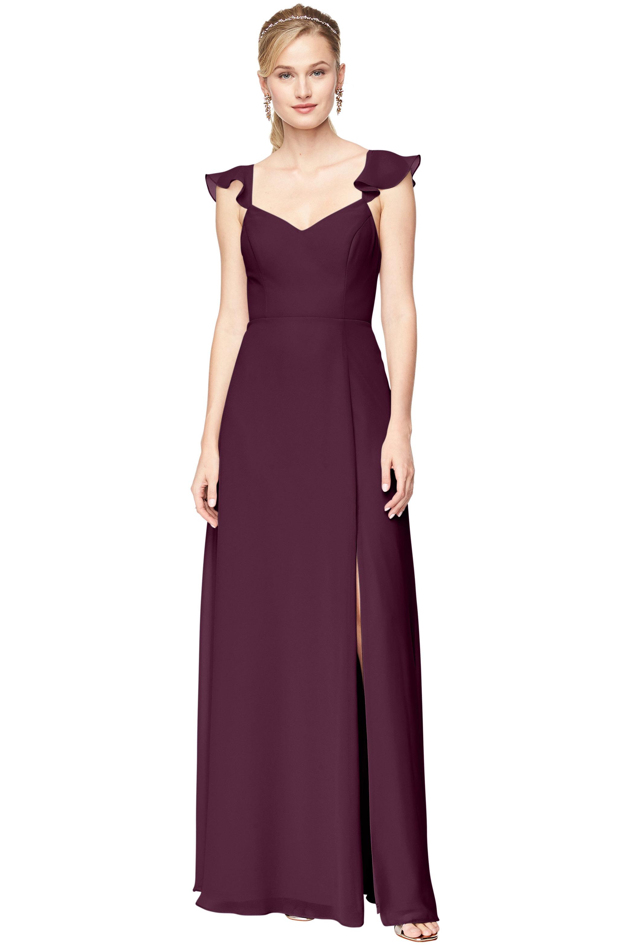 Bill Levkoff EGGPLANT Chiffon V-Neck A-line gown, $198.00 Front
