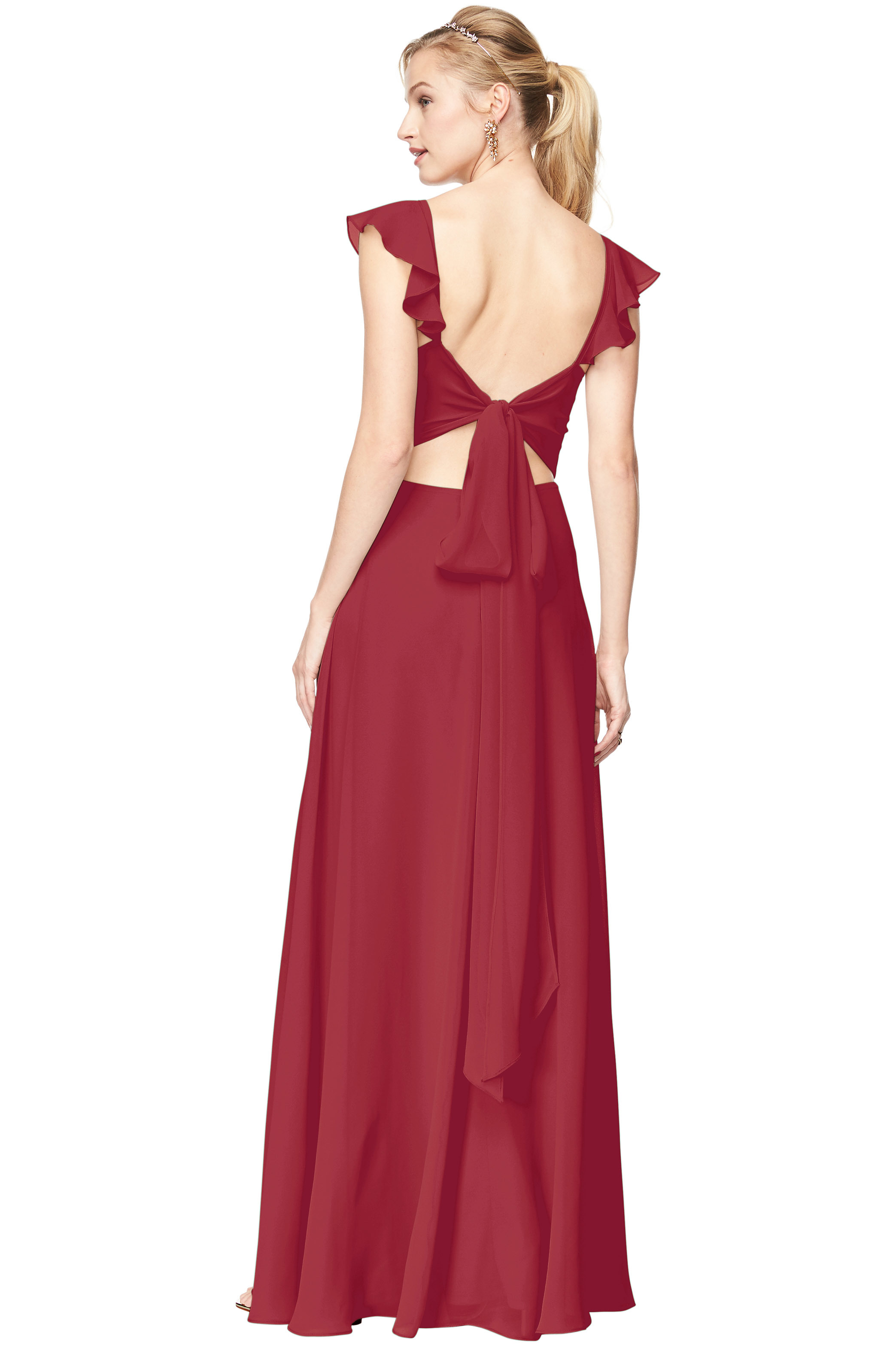 Bill Levkoff CHERRY Chiffon V-Neck, Cap Sleeve A-line gown, $198.00 Back