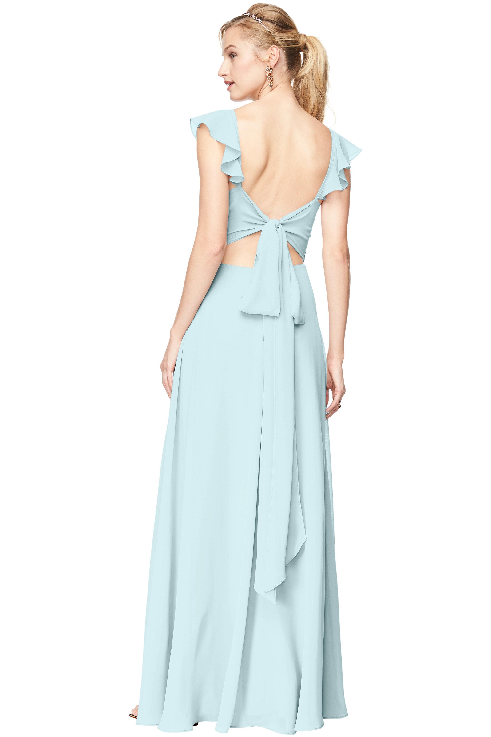 Bill Levkoff PALE BLUE Chiffon V-Neck, Cap Sleeve A-line gown, $198.00 Back