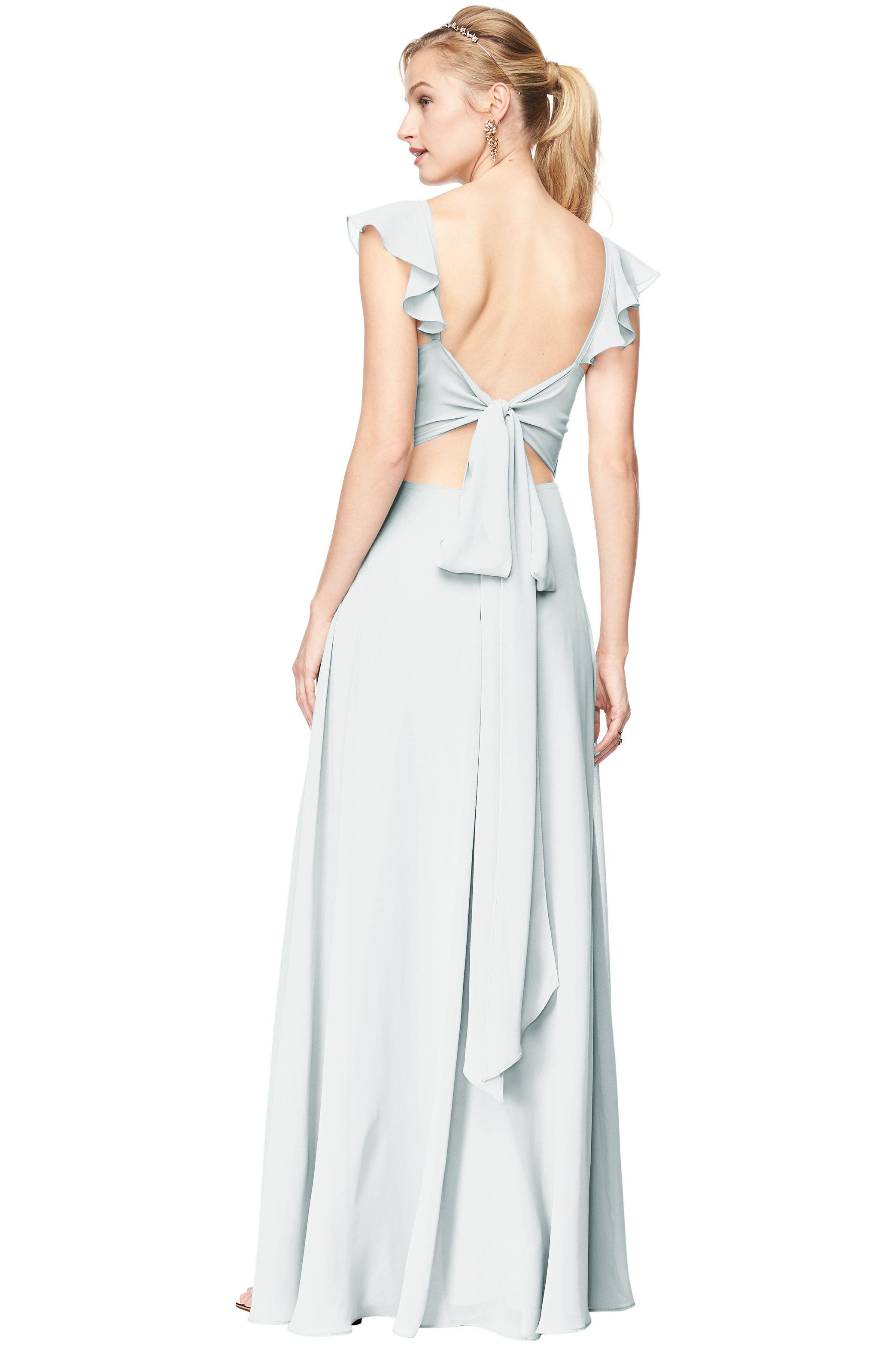 Bill Levkoff MIST Chiffon V-Neck A-line gown, $198.00 Back