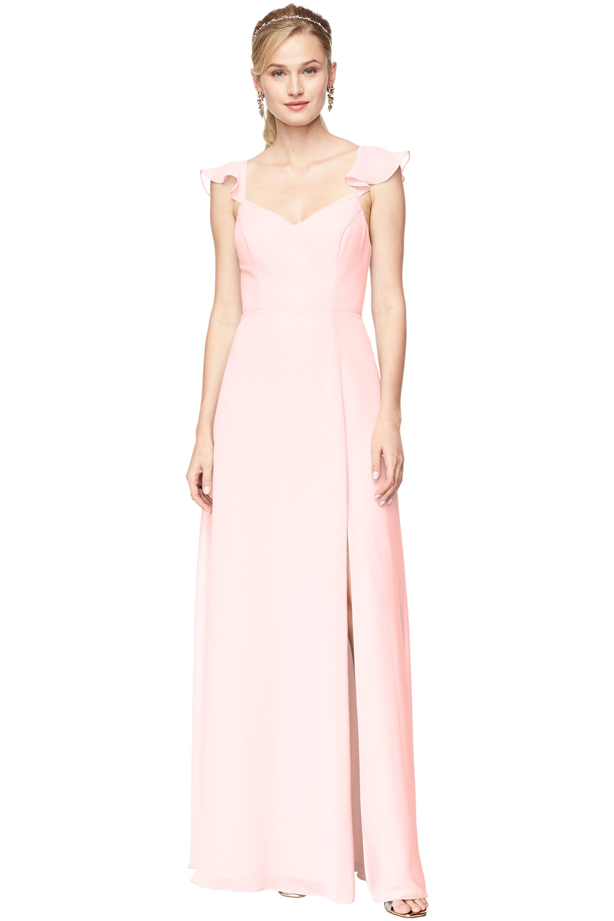 Bill Levkoff PETAL PINK Chiffon V-Neck, Cap Sleeve A-line gown, $168.30 Front