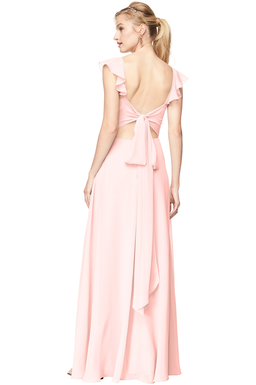 Bill Levkoff PETAL PINK Chiffon V-Neck, Cap Sleeve A-line gown, $168.30 Back