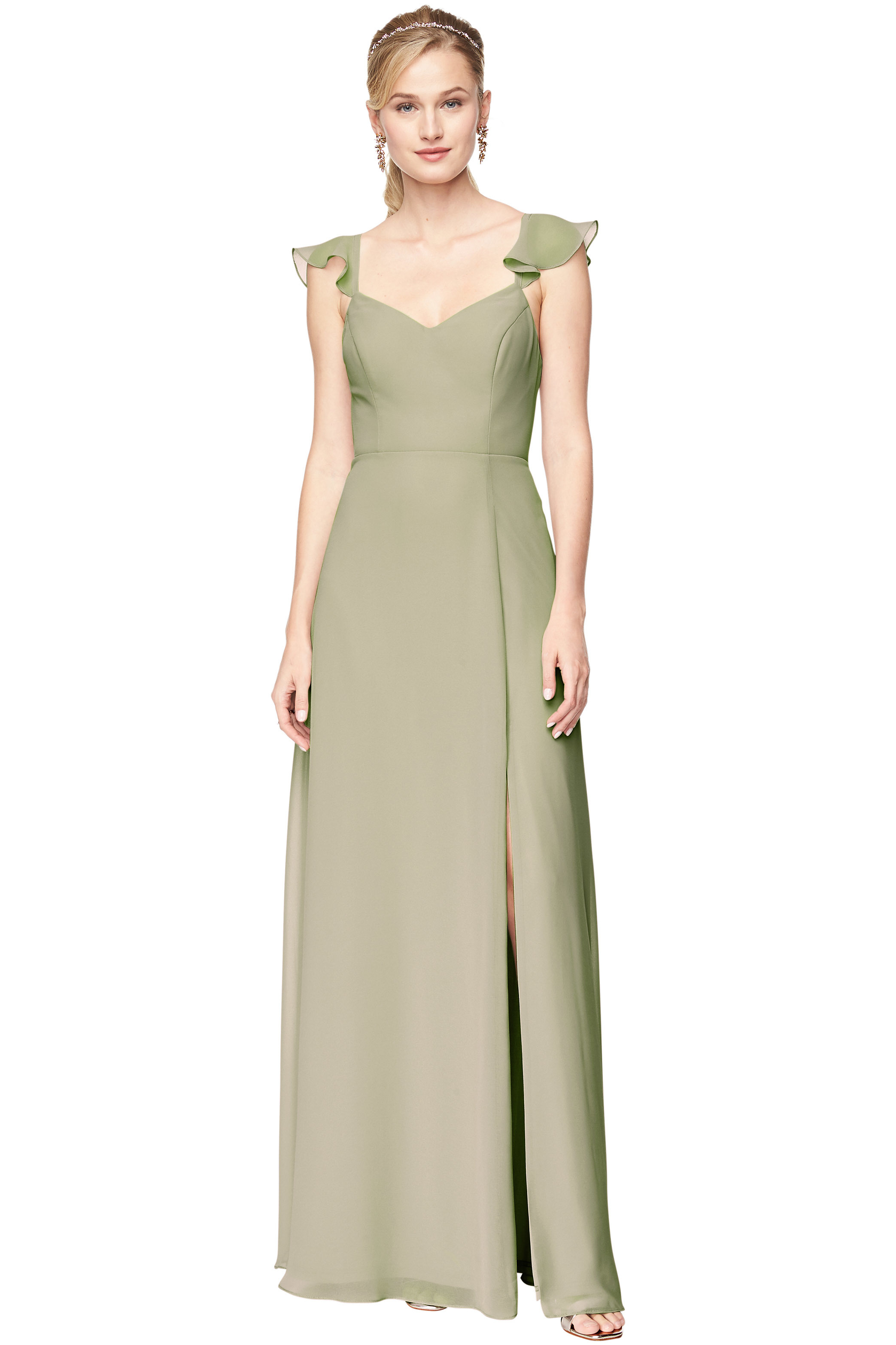 Bill Levkoff PISTACHIO Chiffon V-Neck A-line gown, $198.00 Front