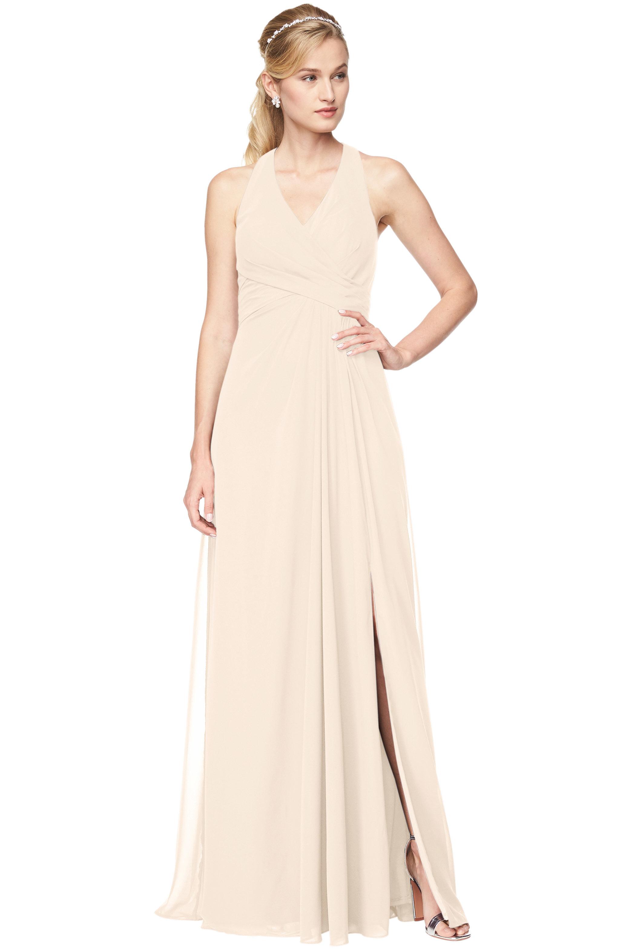 Bill Levkoff IVORY Chiffon V-Neck, Halter A-Line gown, $198.00 Front