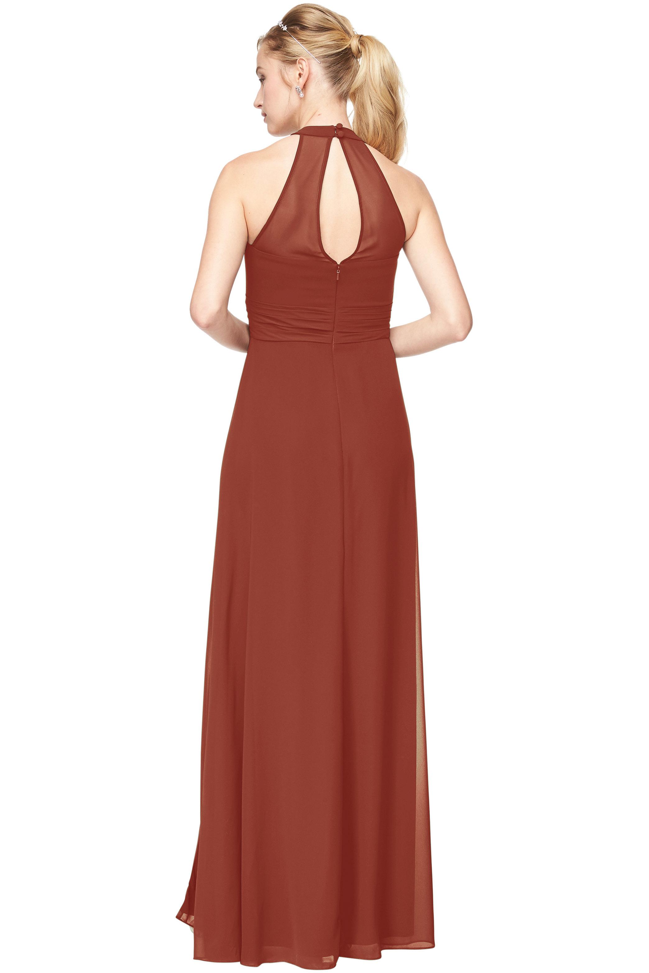 Bill Levkoff RUST Chiffon V-Neck A-Line gown, $198.00 Back