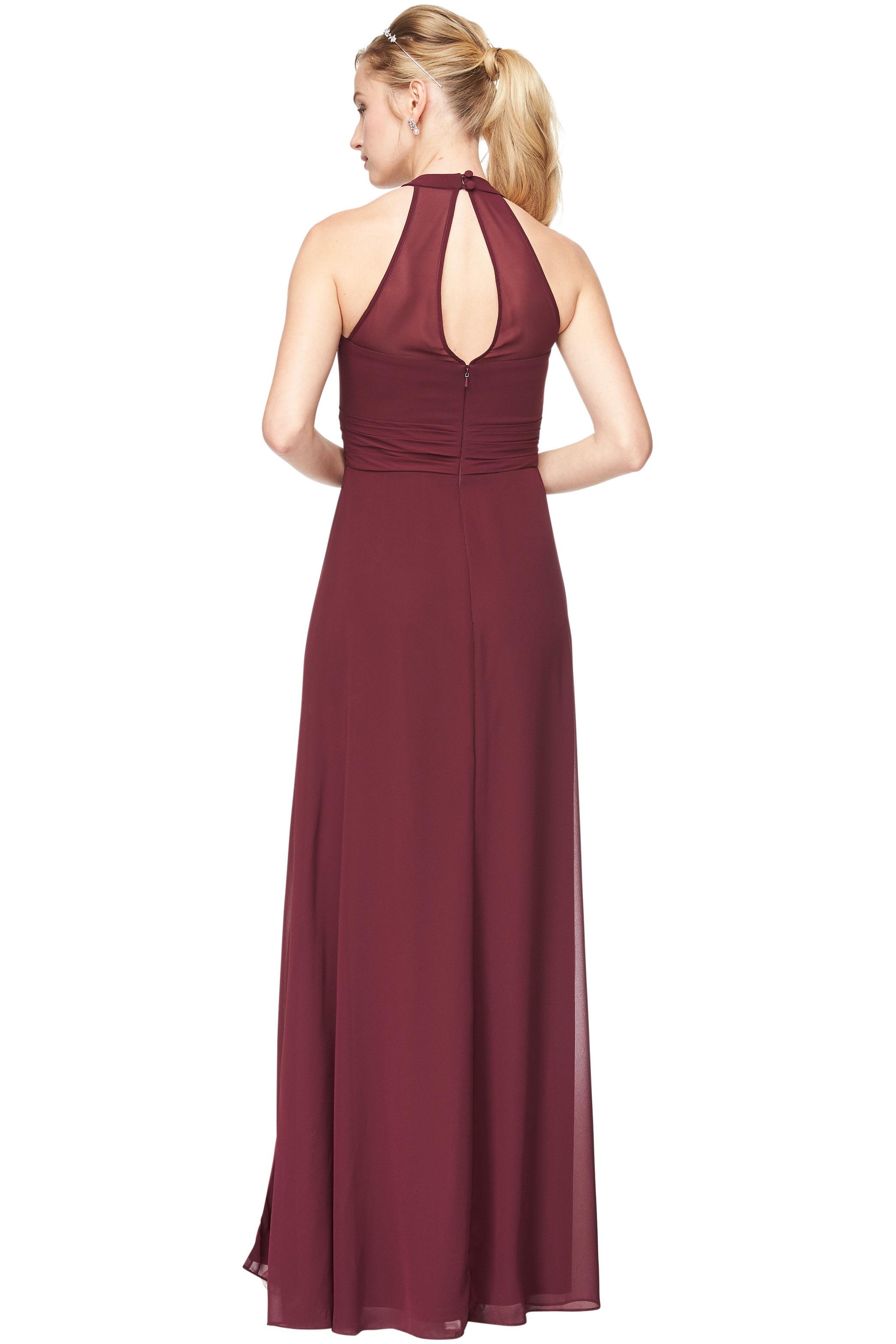 Bill Levkoff WINE Chiffon V-Neck A-Line gown, $198.00 Back