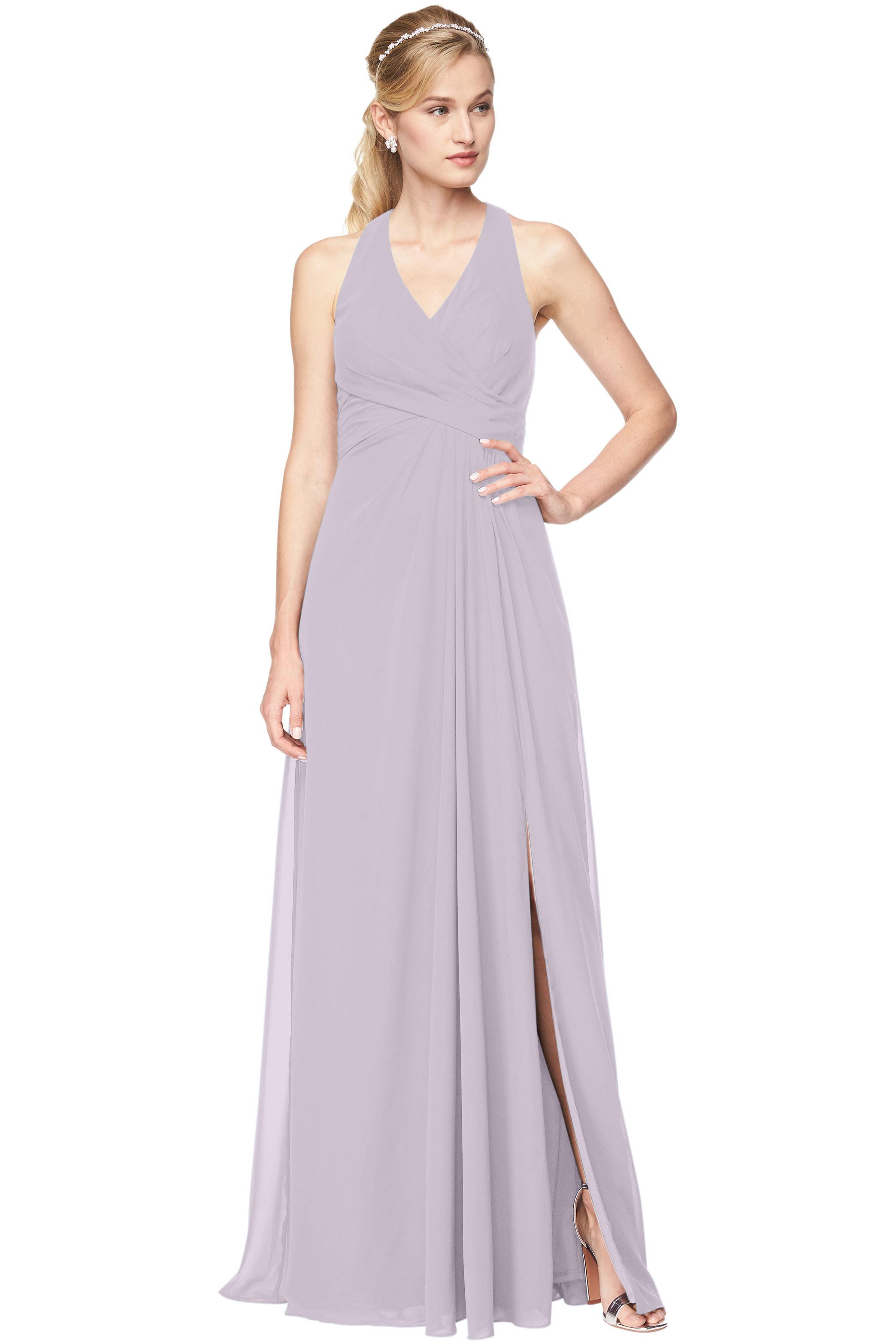 Bill Levkoff VIOLET Chiffon V-Neck, Halter A-Line gown, $168.30 Front