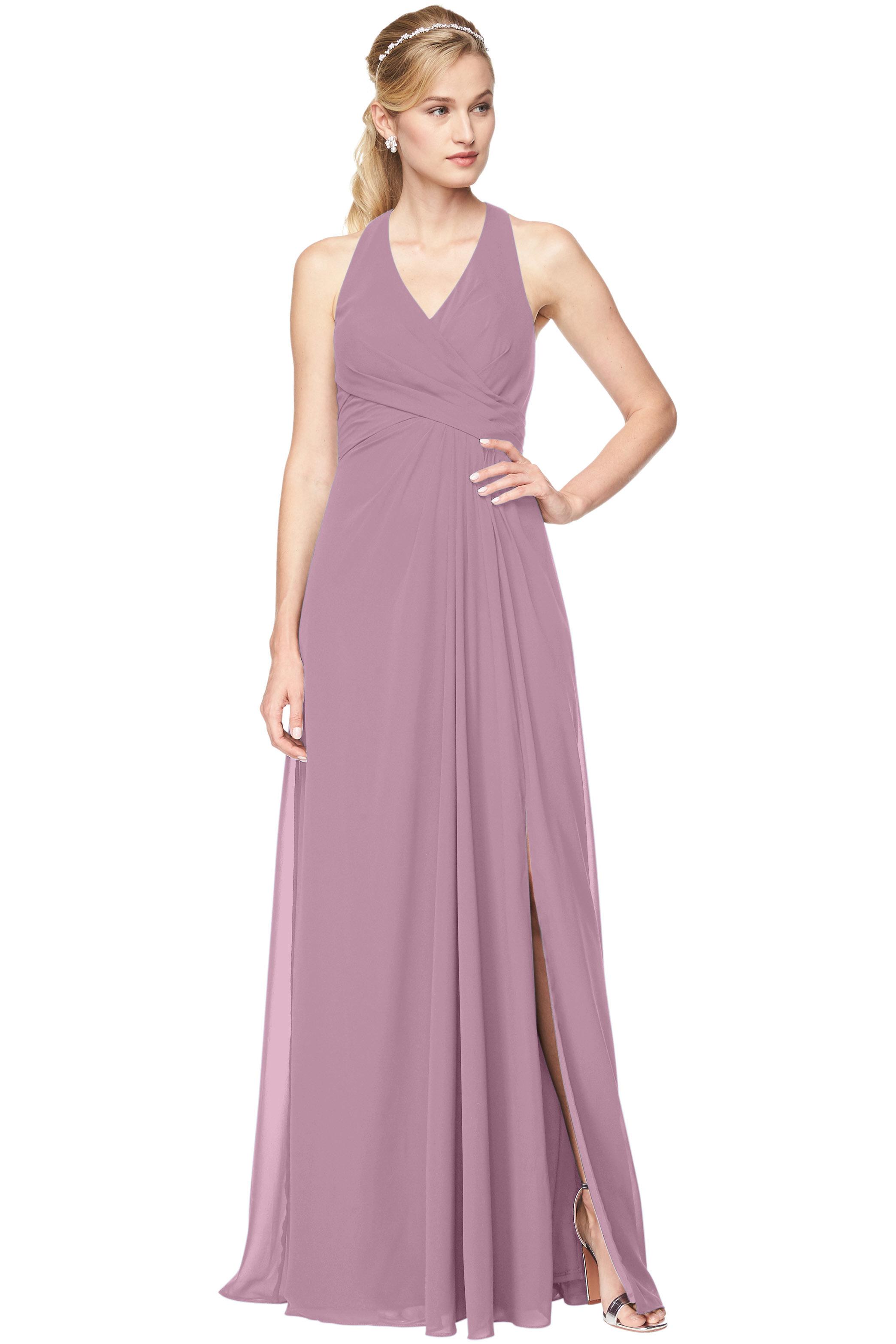 Bill Levkoff WISTERIA Chiffon V-Neck, Halter A-Line gown, $198.00 Front