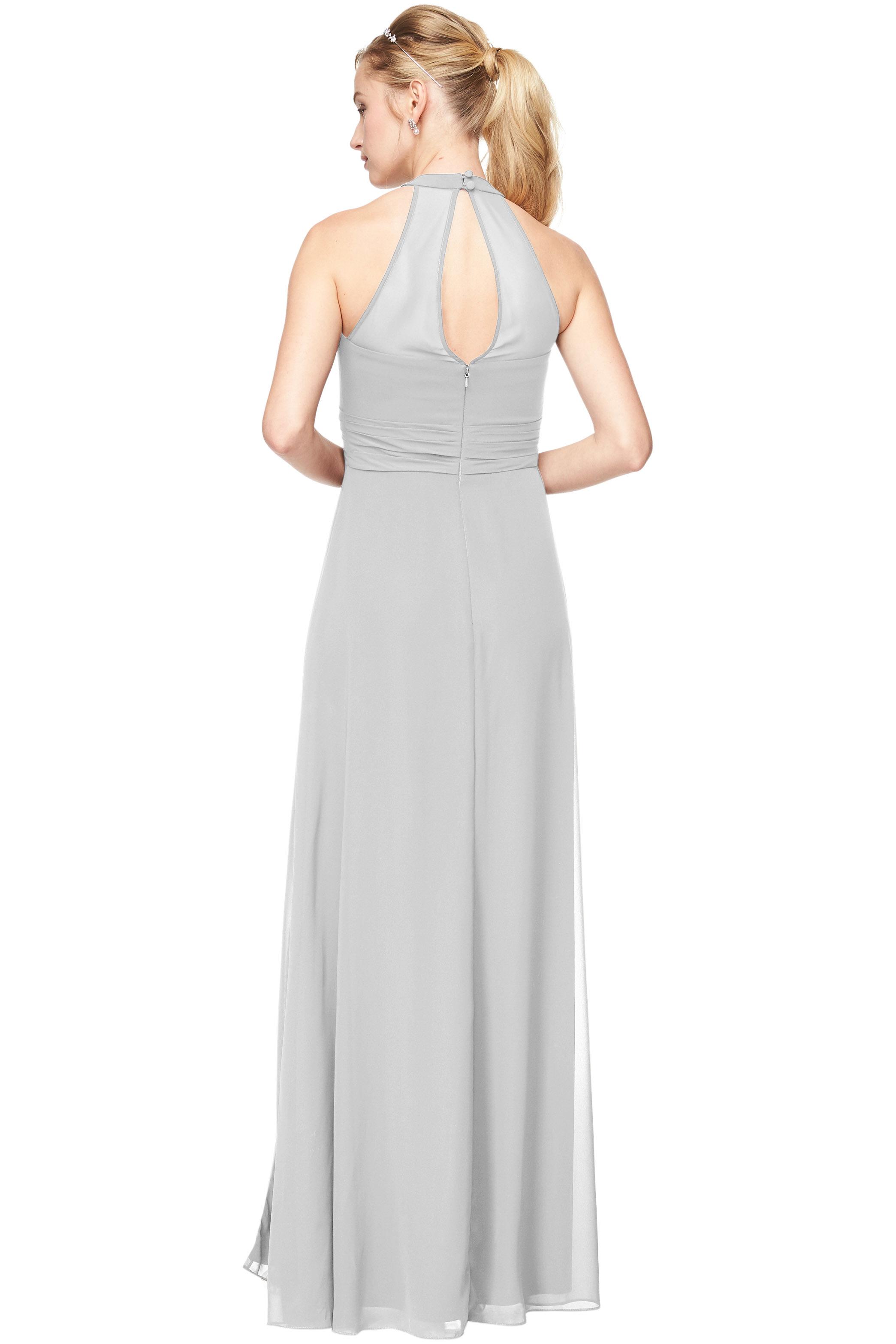 Bill Levkoff DESERT GREY Chiffon V-Neck, Halter A-Line gown, $198.00 Back