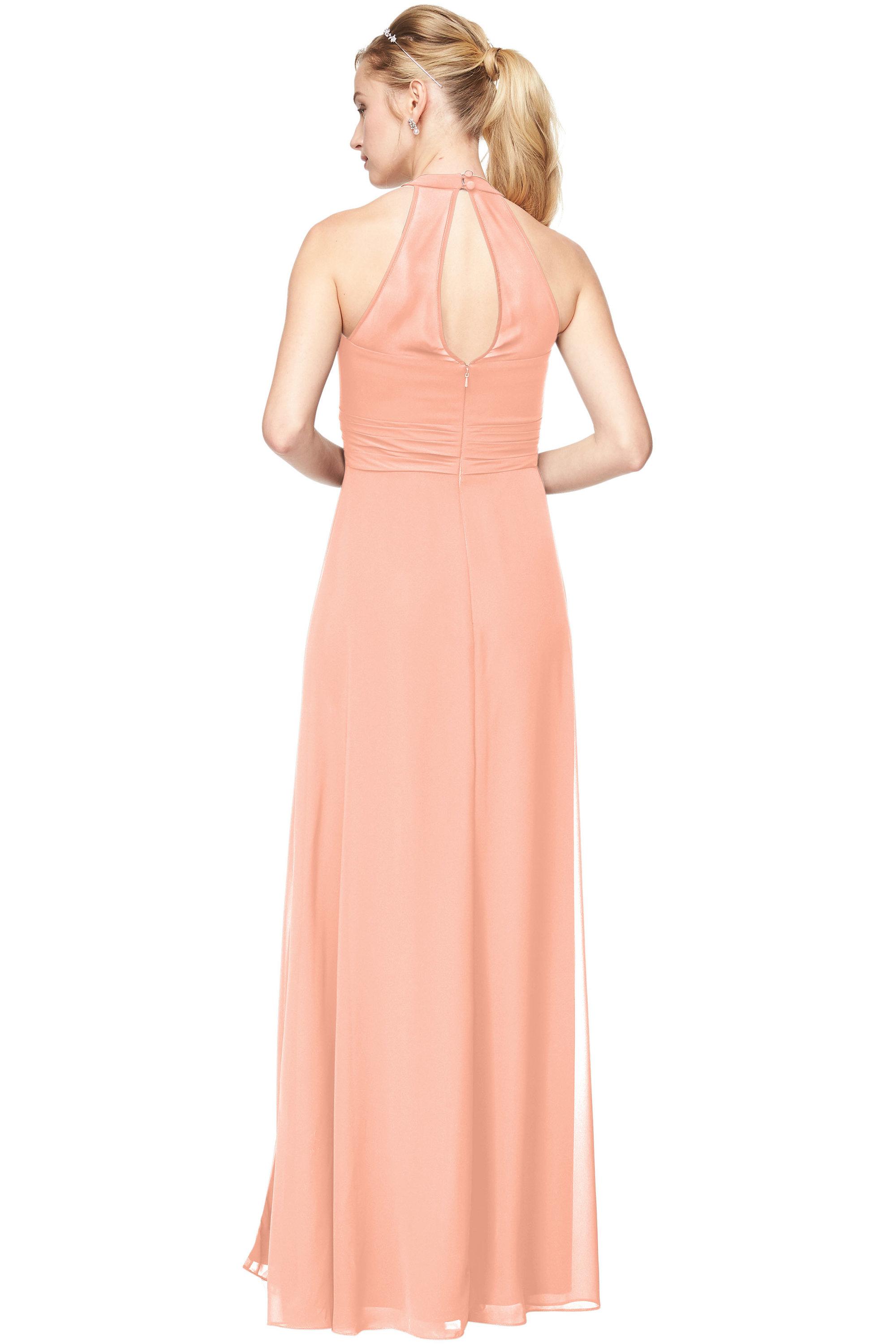 Bill Levkoff PEACH Chiffon V-Neck A-Line gown, $198.00 Back