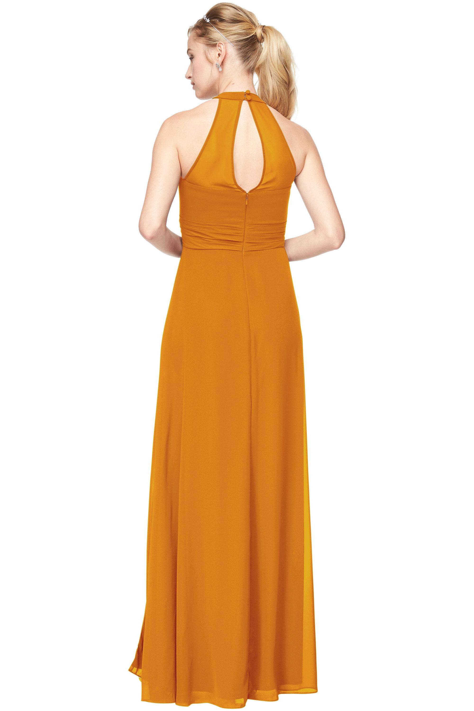 Bill Levkoff GOLD Chiffon V-Neck A-Line gown, $198.00 Back