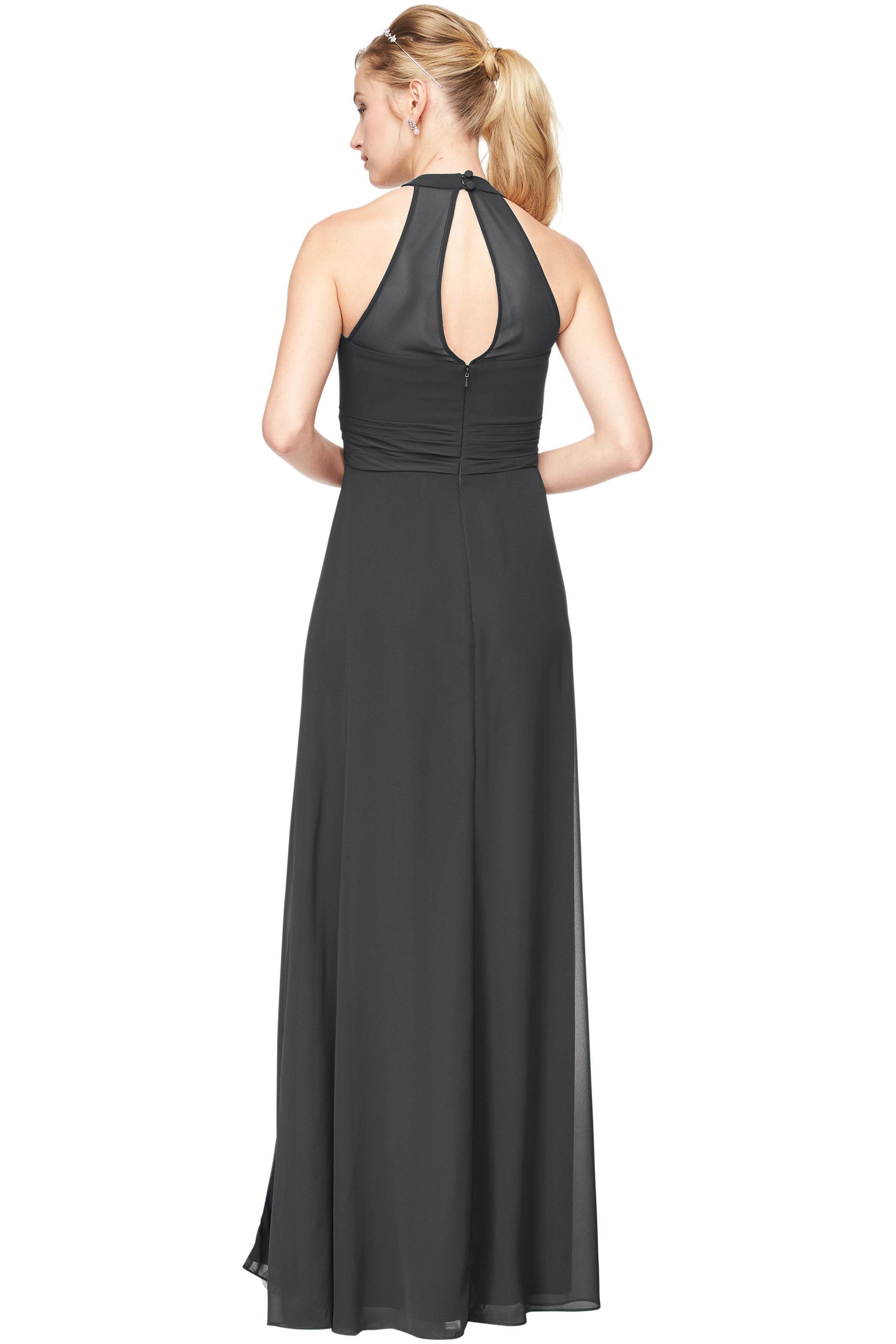 Bill Levkoff CHARCOAL Chiffon V-Neck A-Line gown, $198.00 Back