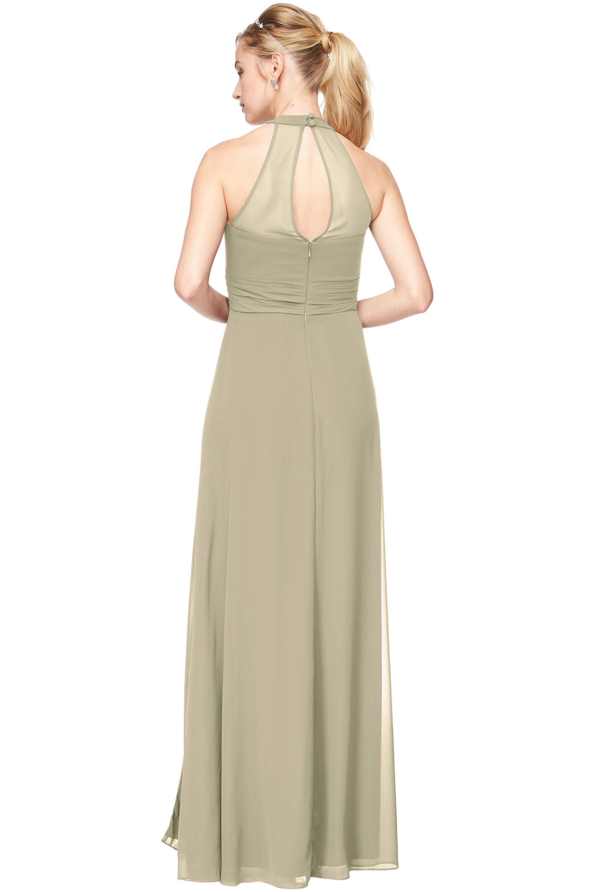 Bill Levkoff PISTACHIO Chiffon V-Neck A-Line gown, $198.00 Back