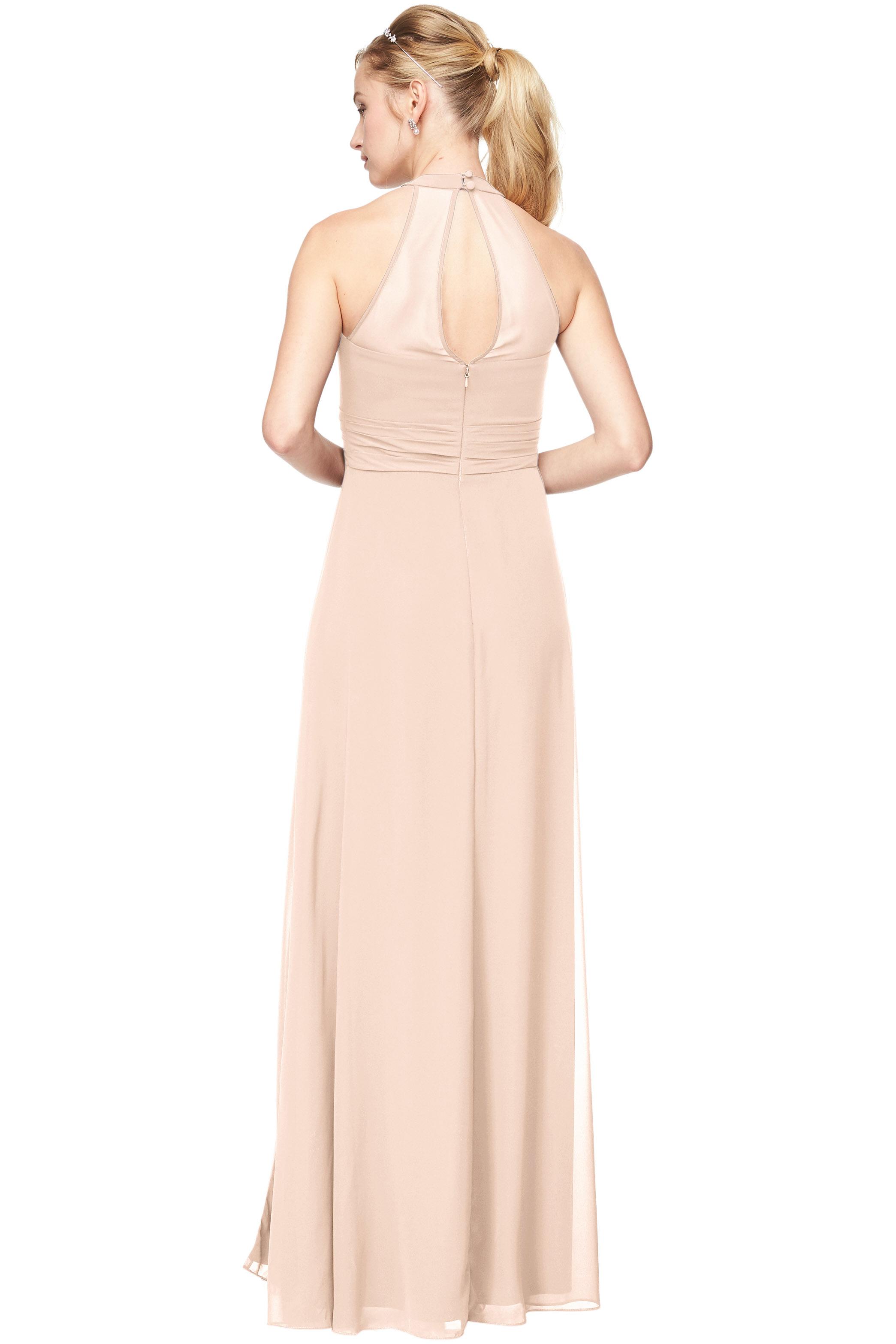Bill Levkoff SHELL PINK Chiffon V-Neck A-Line gown, $198.00 Back