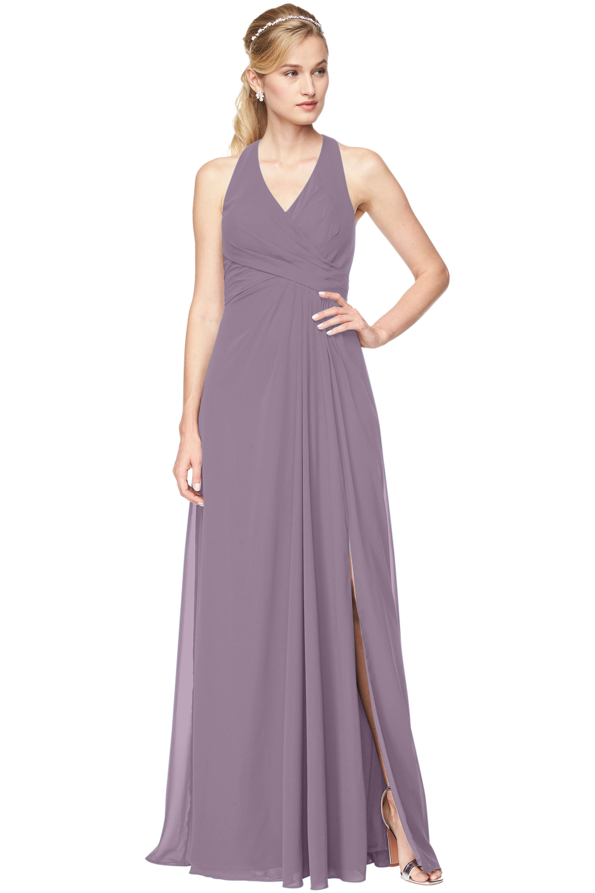 Bill Levkoff VICTORIAN LILAC Chiffon V-Neck, Halter A-Line gown, $198.00 Front