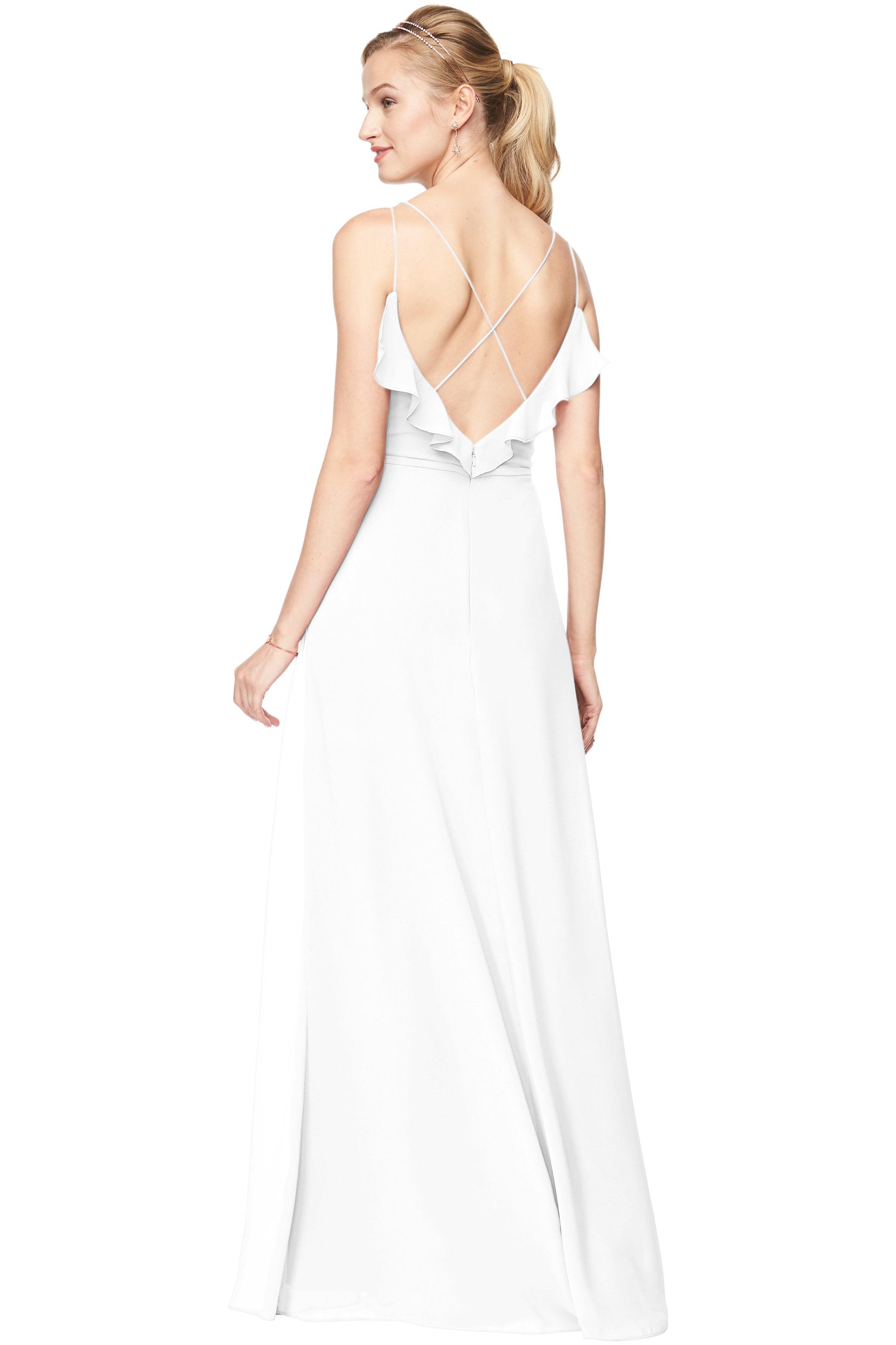 Bill Levkoff WHITE Chiffon V-Neck A-line gown, $198.00 Back