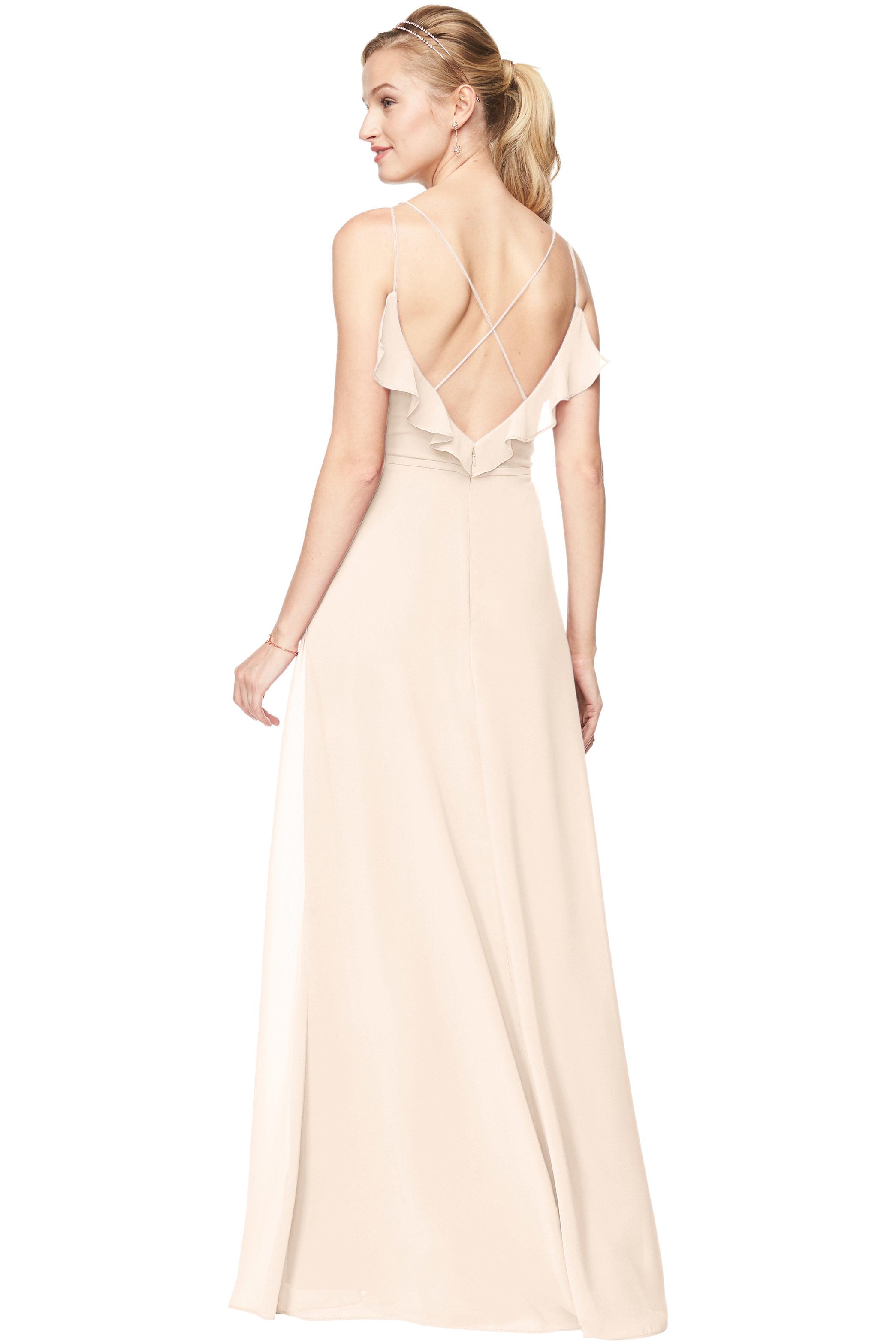 Bill Levkoff IVORY Chiffon V-Neck A-line gown, $198.00 Back