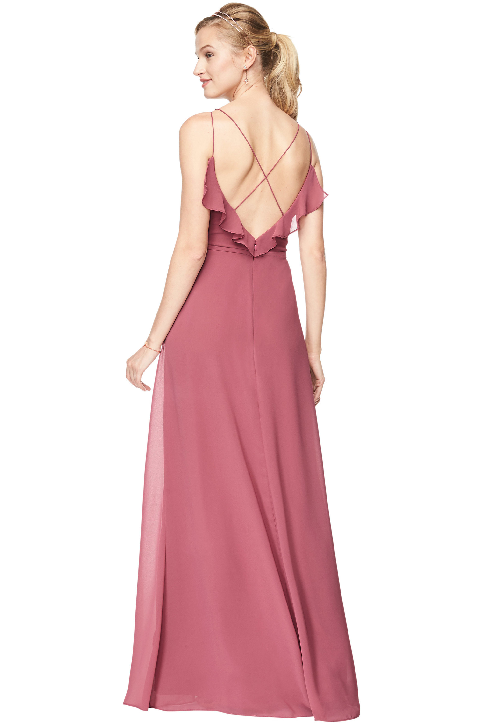 Bill Levkoff ROSEWOOD Chiffon V-Neck A-line gown, $198.00 Back