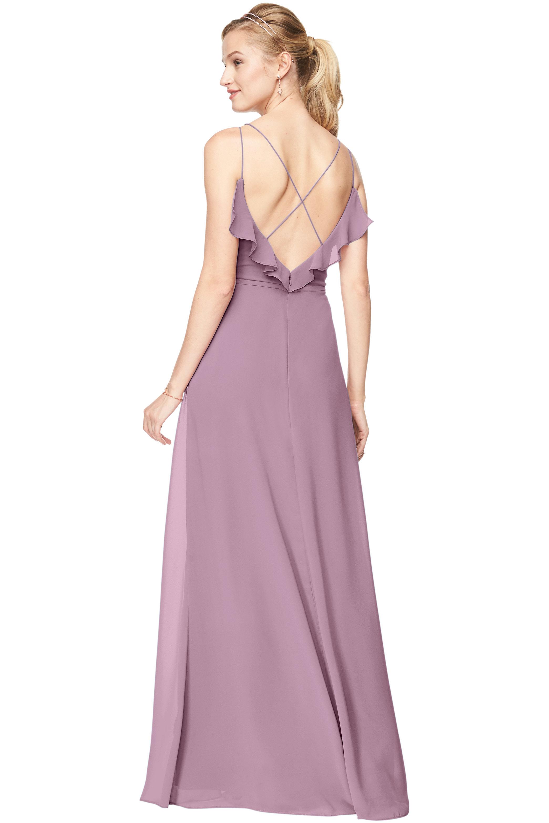 Bill Levkoff WISTERIA Chiffon V-Neck A-line gown, $198.00 Back