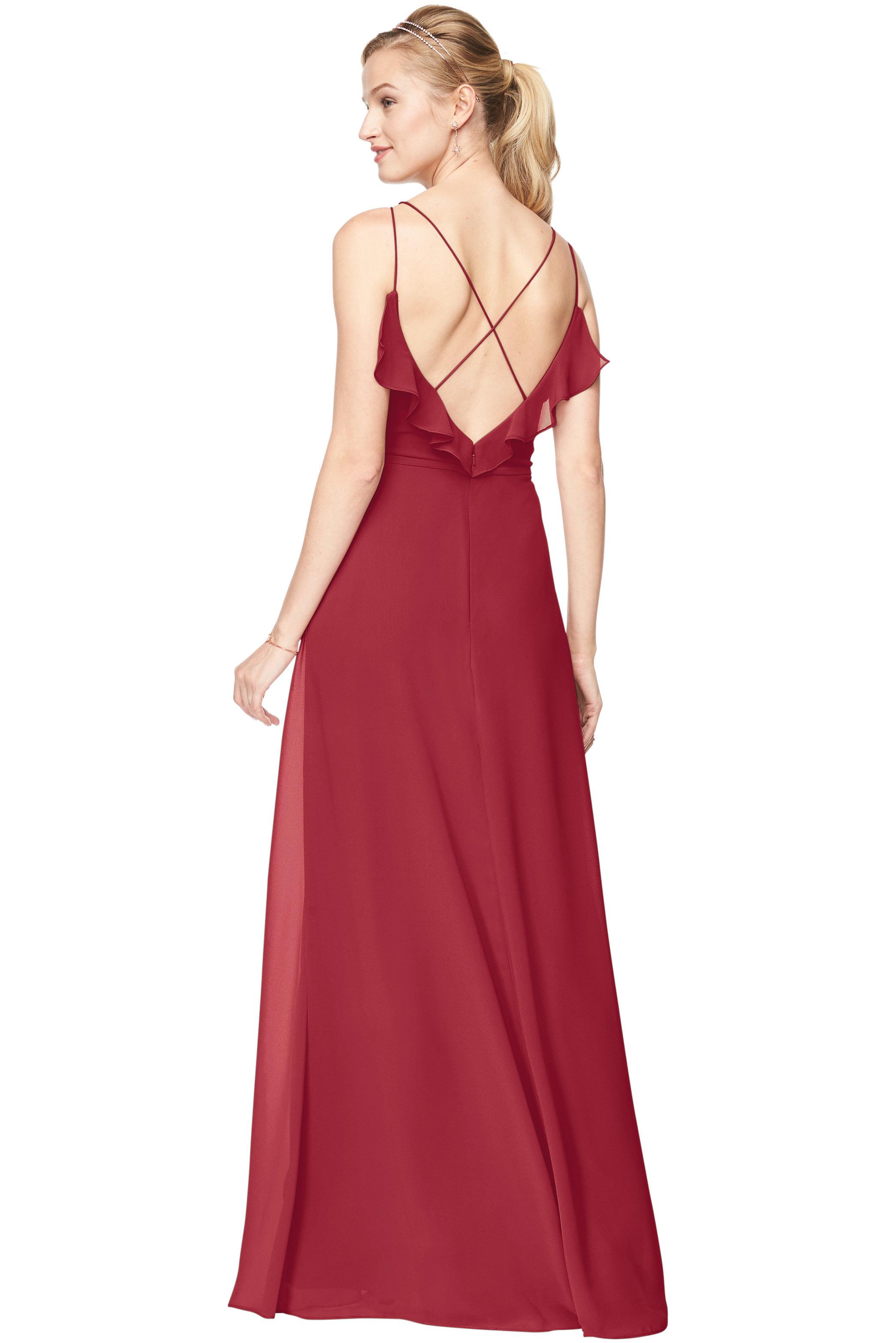 Bill Levkoff CHERRY Chiffon V-Neck A-line gown, $168.30 Back