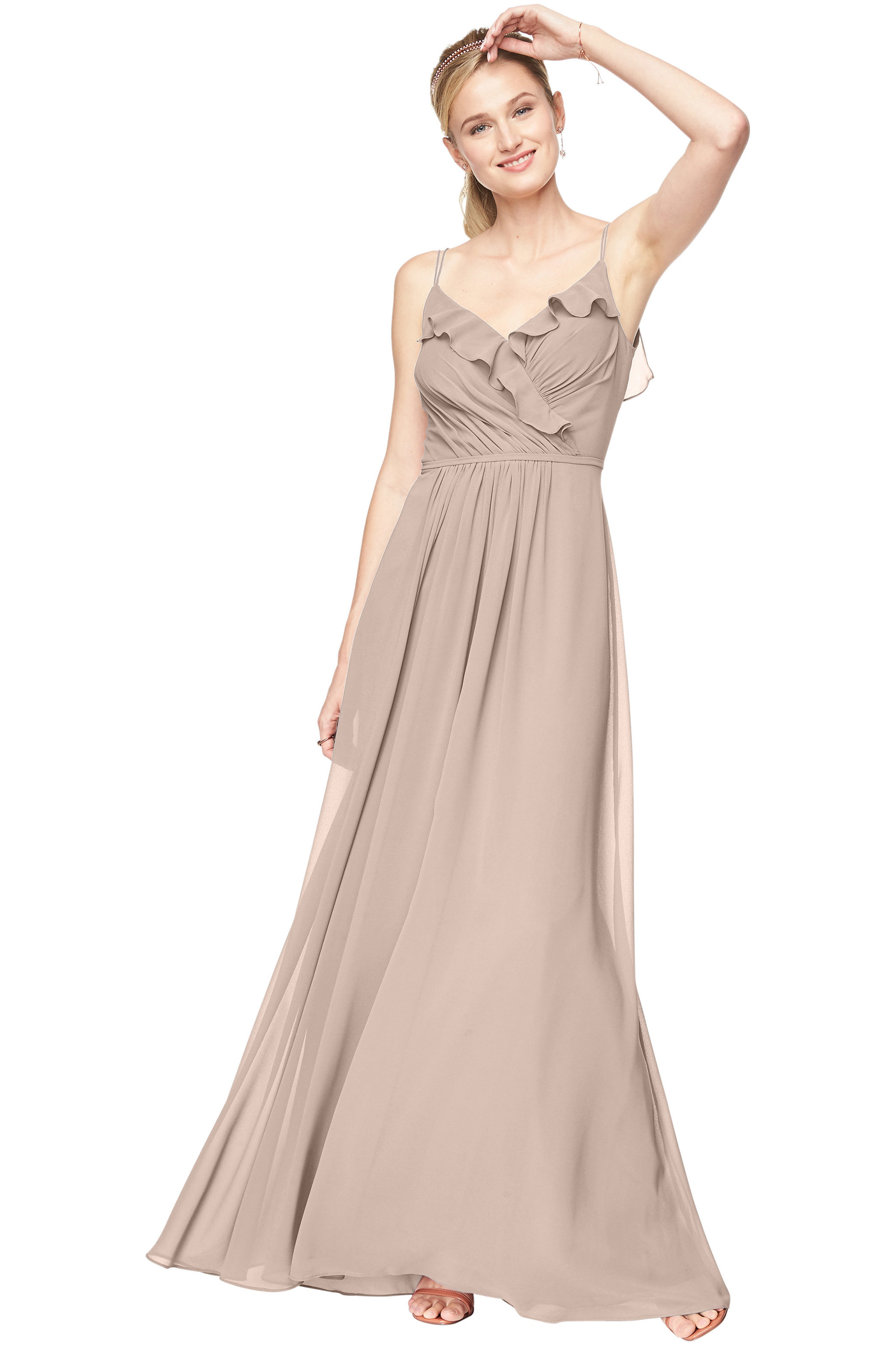 Bill Levkoff CASHMERE Chiffon V-Neck A-line gown, $198.00 Front
