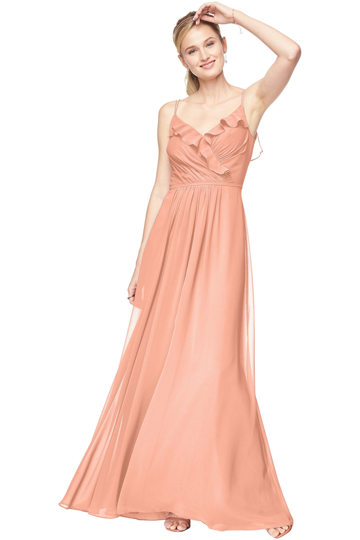 Bill Levkoff PEACH Chiffon V-Neck A-line gown, $198.00 Front