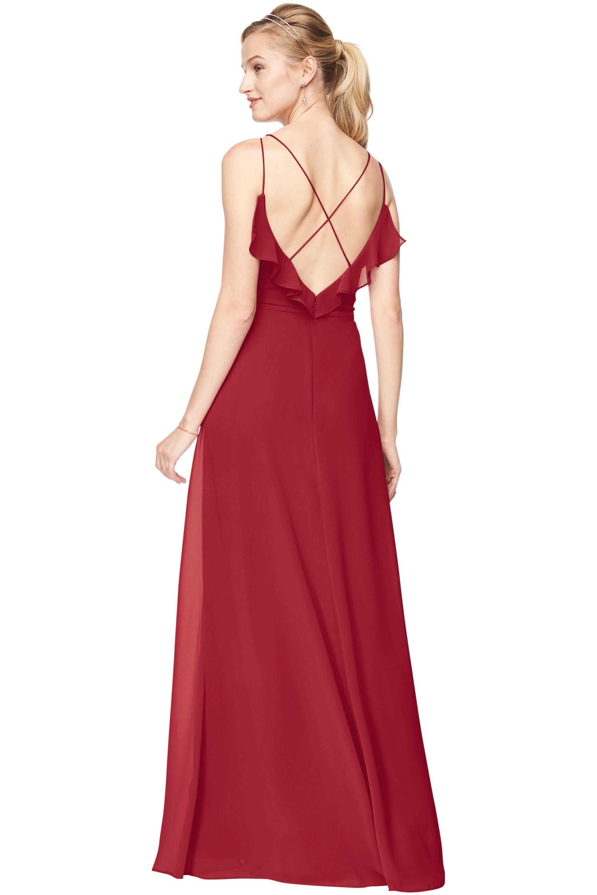 Bill Levkoff CRANBERRY Chiffon V-Neck A-line gown, $198.00 Back