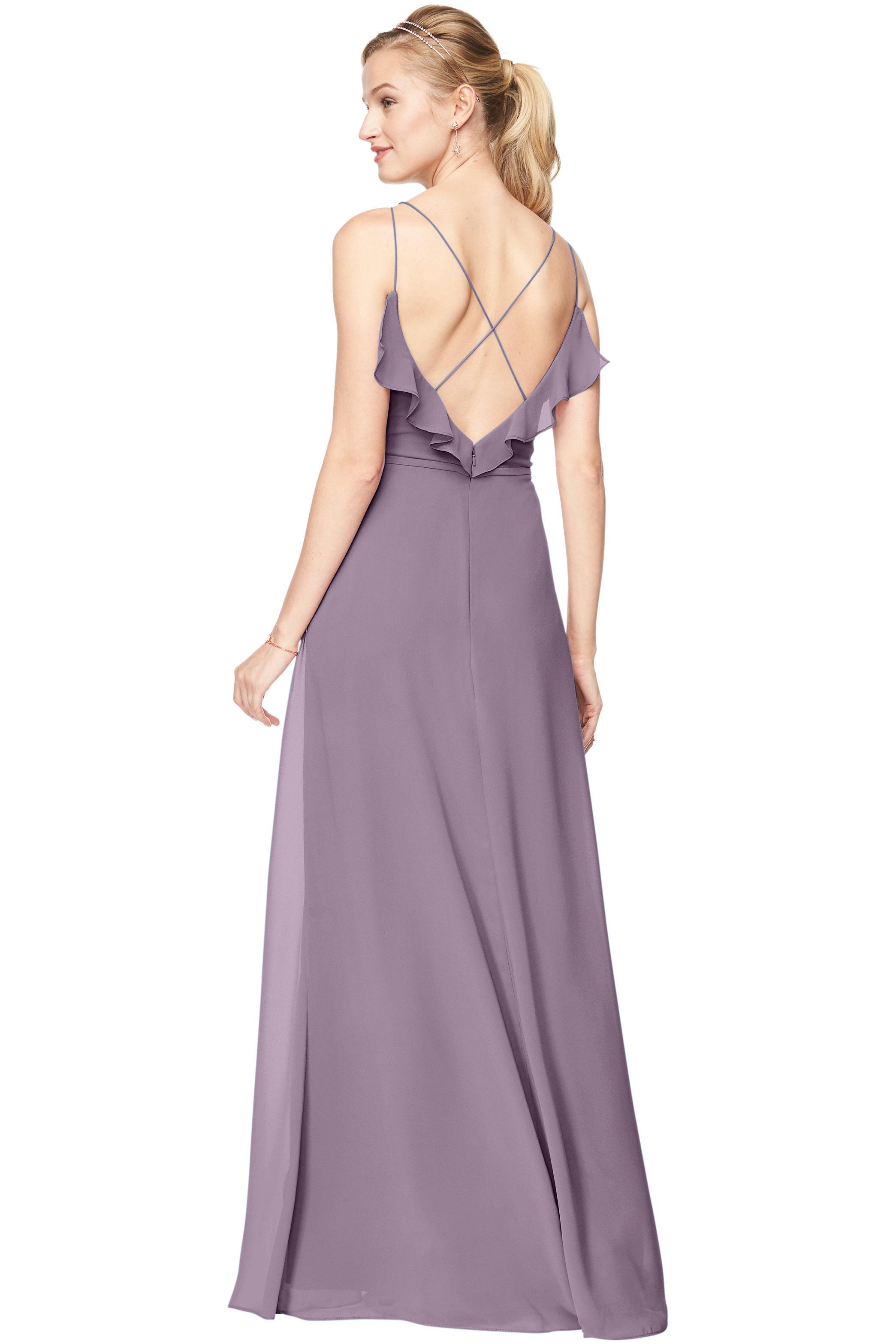 Bill Levkoff VICTORIAN LILAC Chiffon V-Neck A-line gown, $198.00 Back