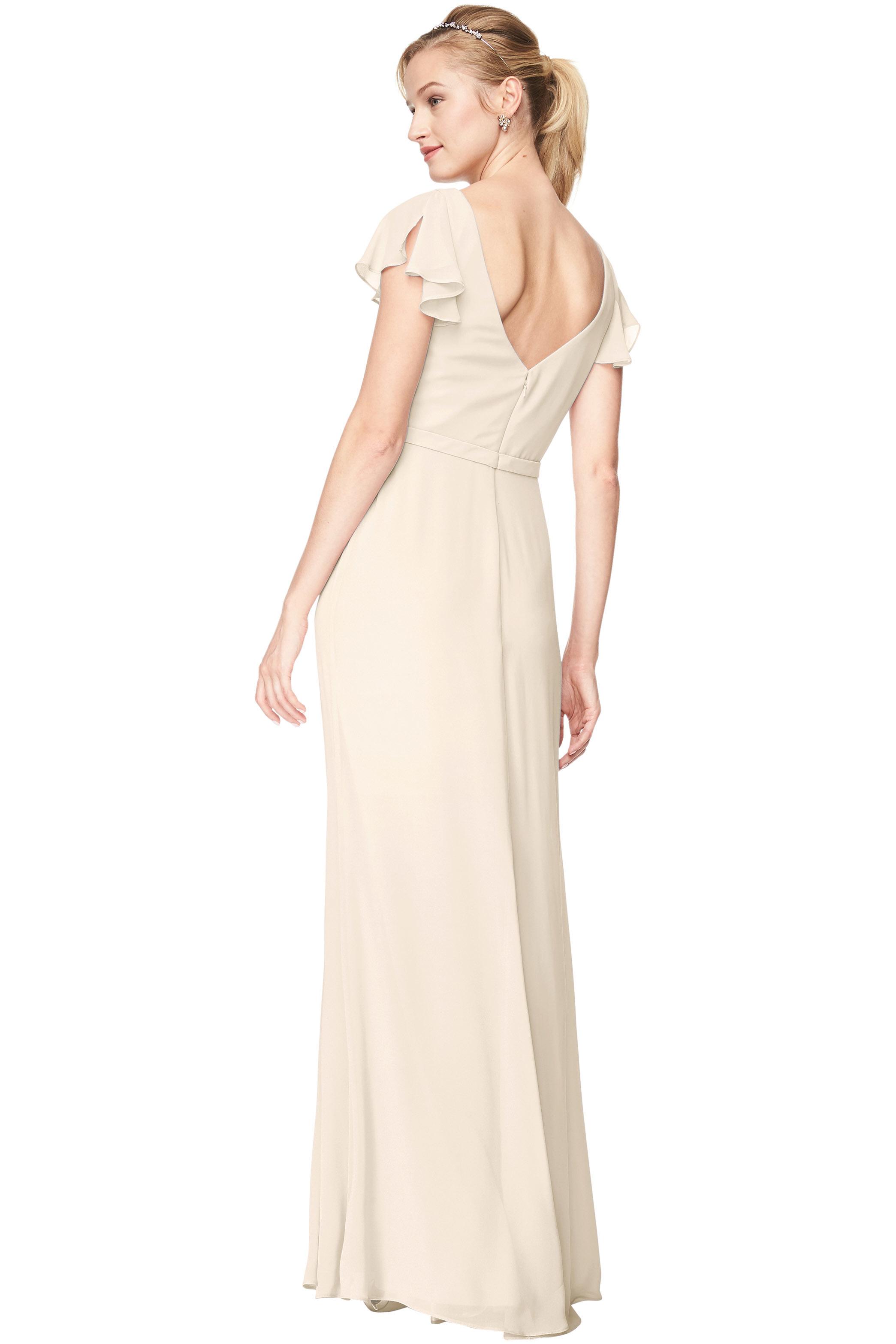 Bill Levkoff IVORY Chiffon V-Neck, Cap Sleeve A-Line gown, $184.00 Back