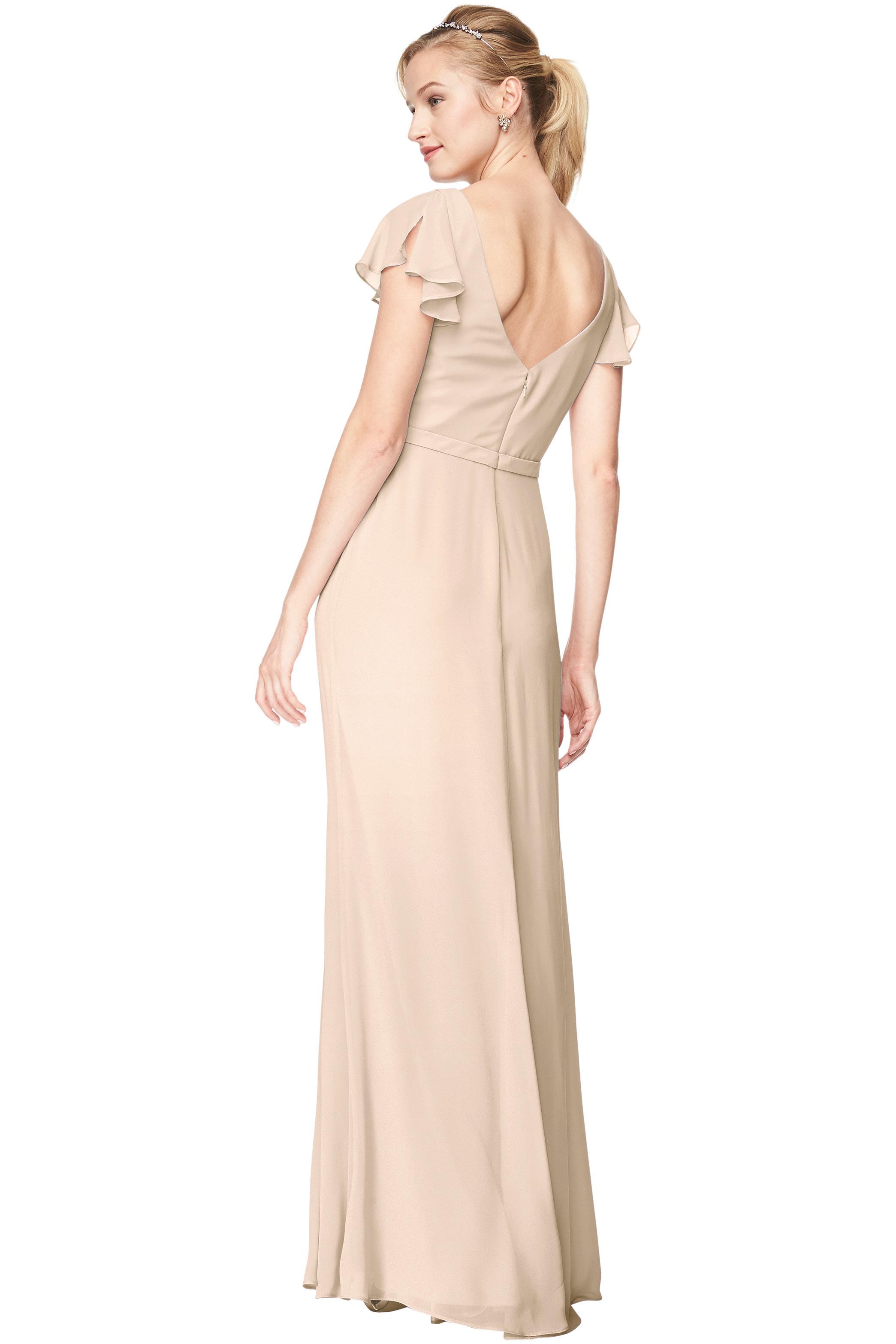 Bill Levkoff CHAMPAGNE Chiffon V-Neck A-Line gown, $184.00 Back