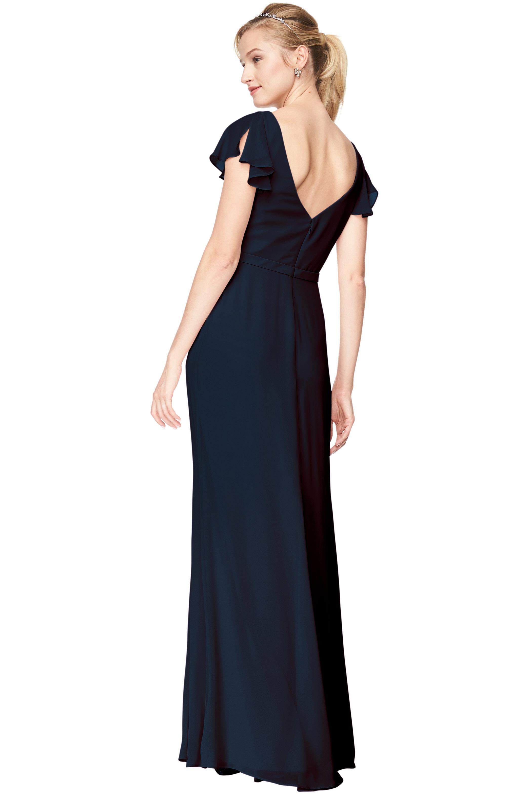Bill Levkoff NAVY Chiffon V-Neck A-Line gown, $184.00 Back