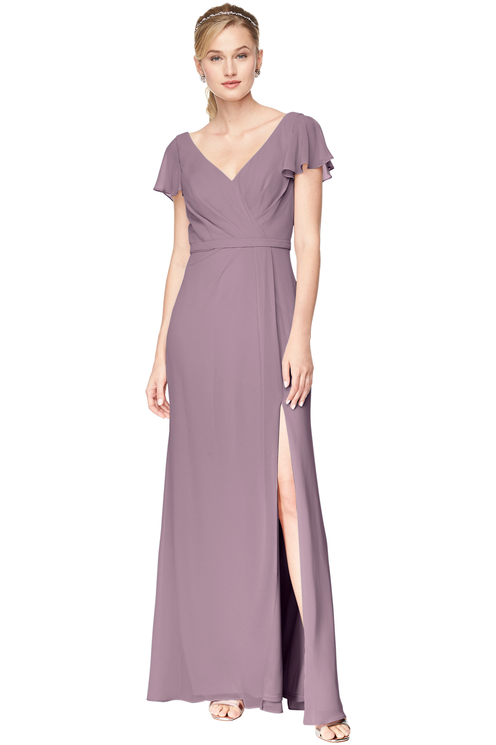 Bill Levkoff HEATHER Chiffon V-Neck A-Line gown, $184.00 Front