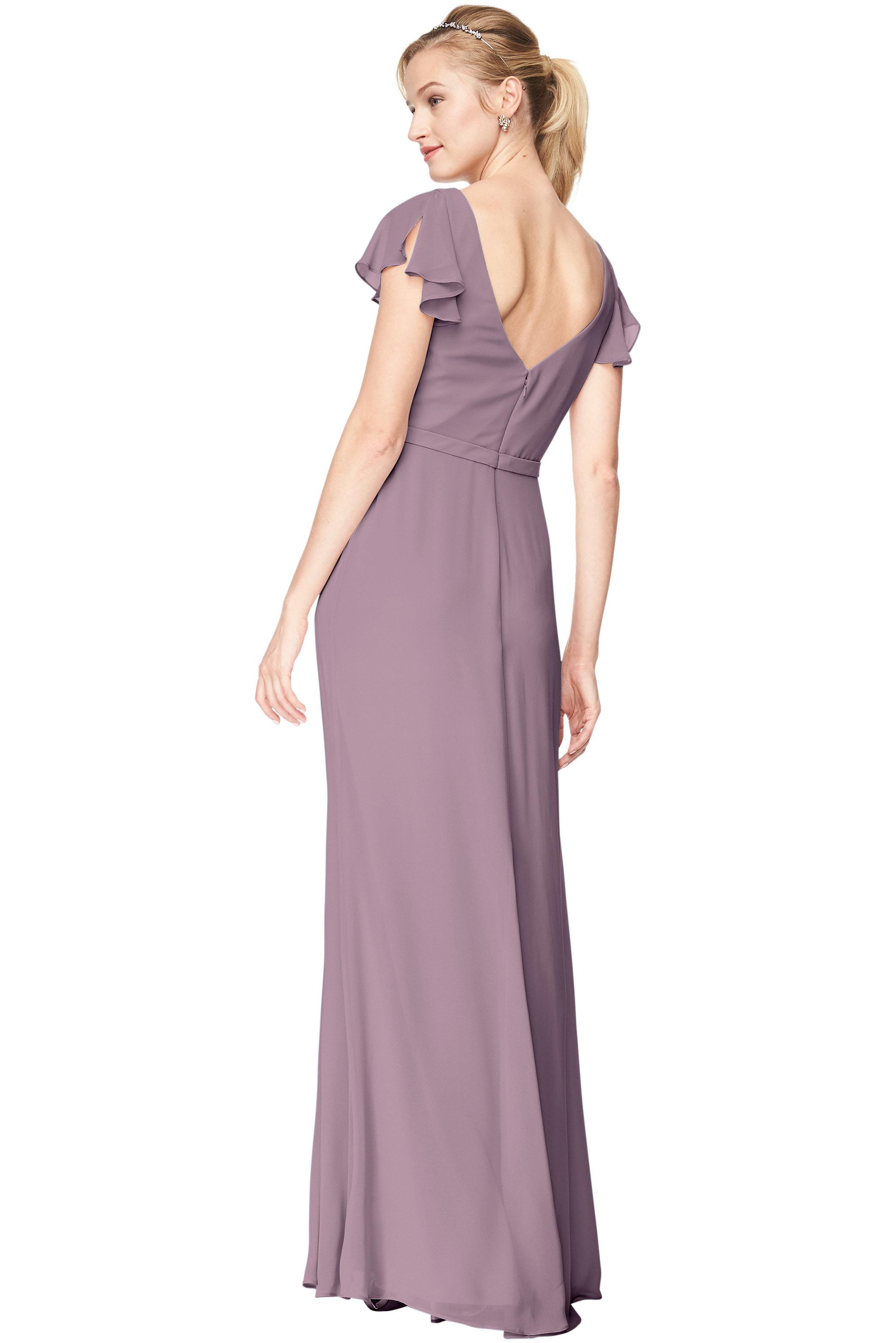 Bill Levkoff HEATHER Chiffon V-Neck A-Line gown, $184.00 Back