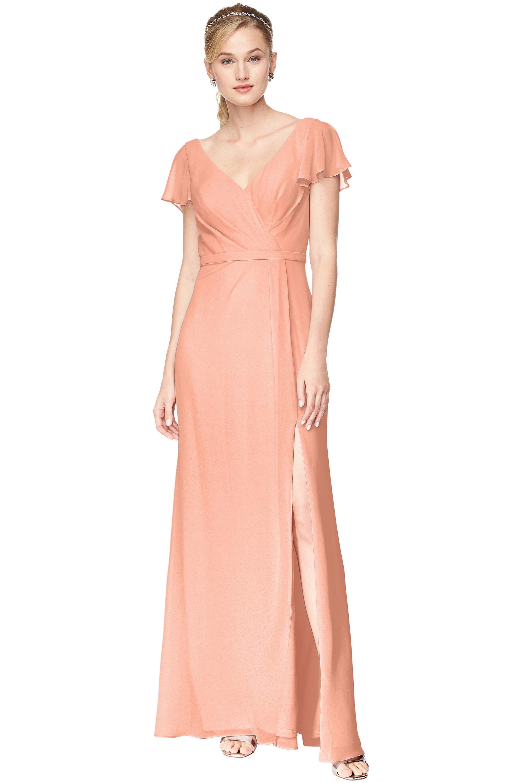 Bill Levkoff PEACH Chiffon V-Neck, Cap Sleeve A-Line gown, $184.00 Front