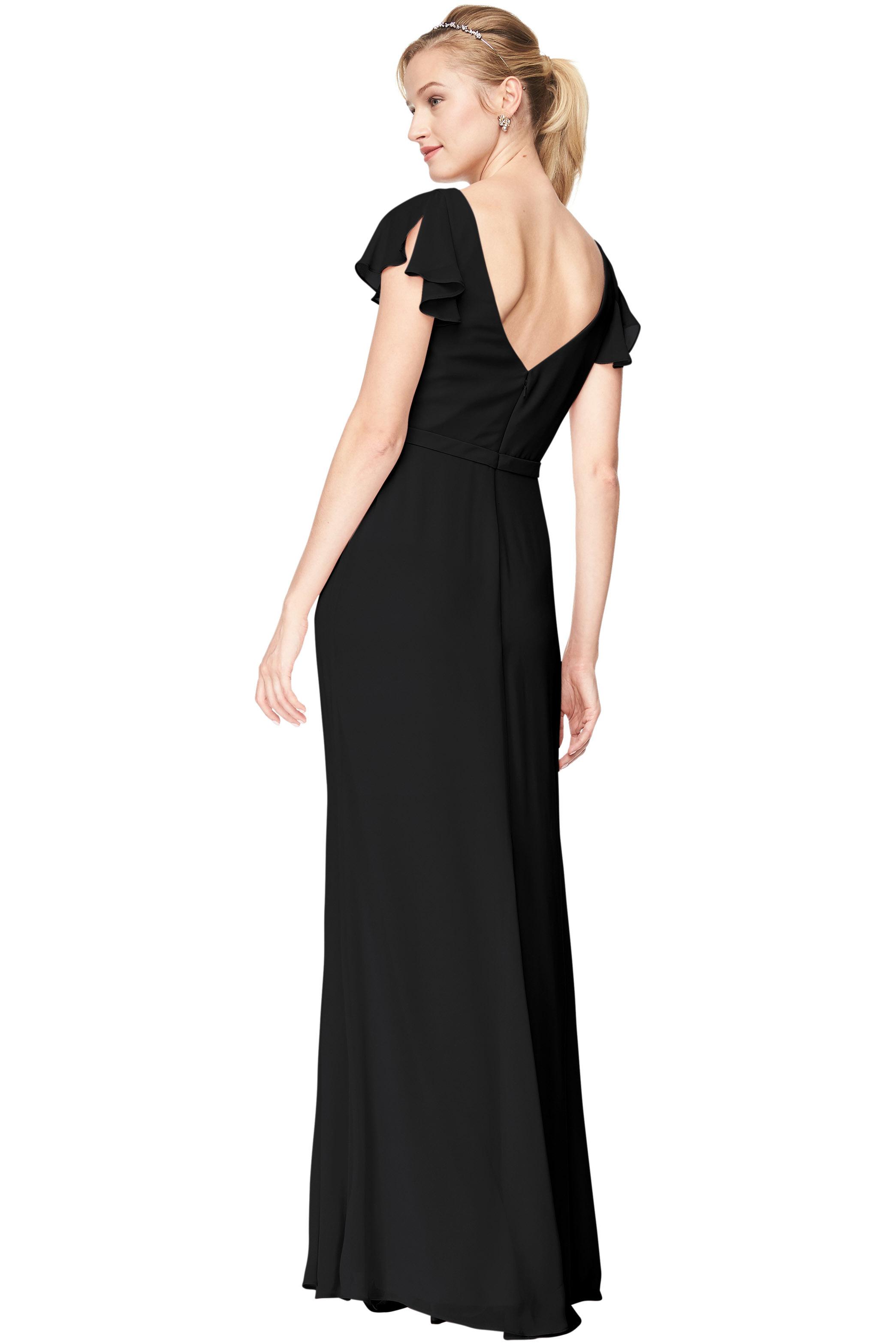 Bill Levkoff BLACK Chiffon V-Neck, Cap Sleeve A-Line gown, $184.00 Back