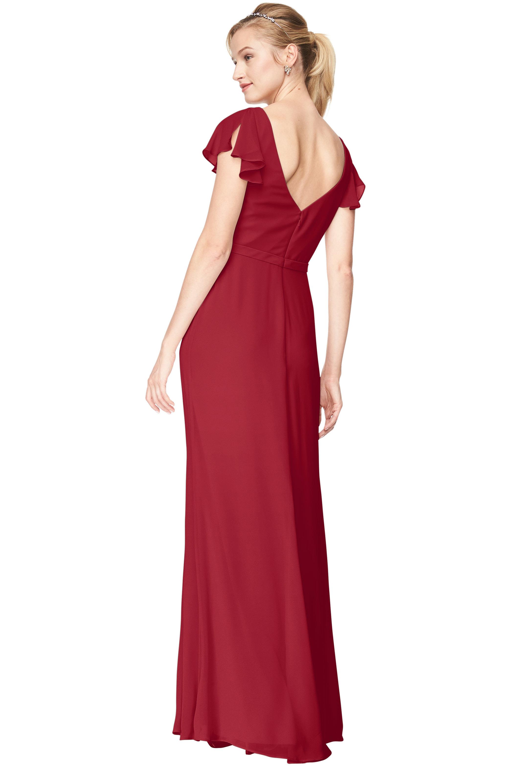 Bill Levkoff CRANBERRY Chiffon V-Neck, Cap Sleeve A-Line gown, $184.00 Back