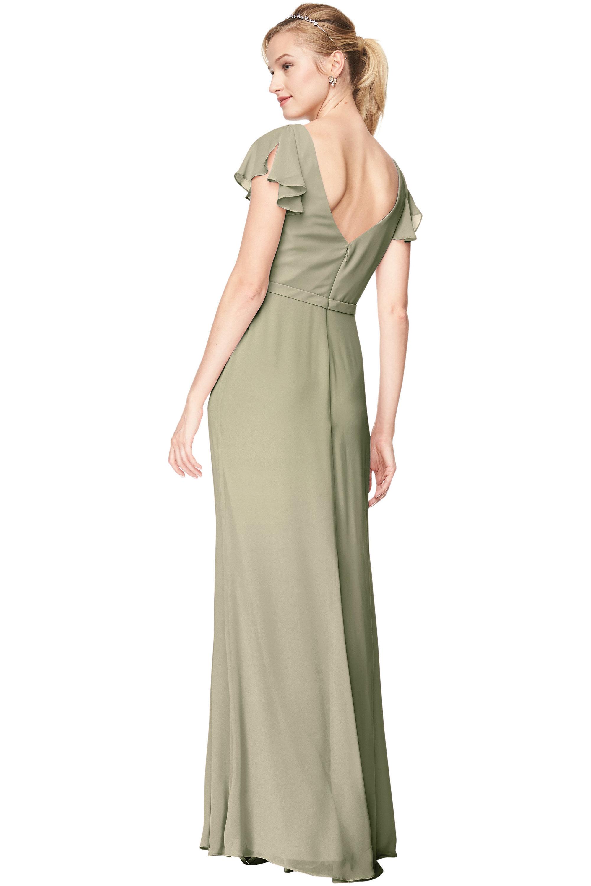 Bill Levkoff PISTACHIO Chiffon V-Neck, Cap Sleeve A-Line gown, $184.00 Back