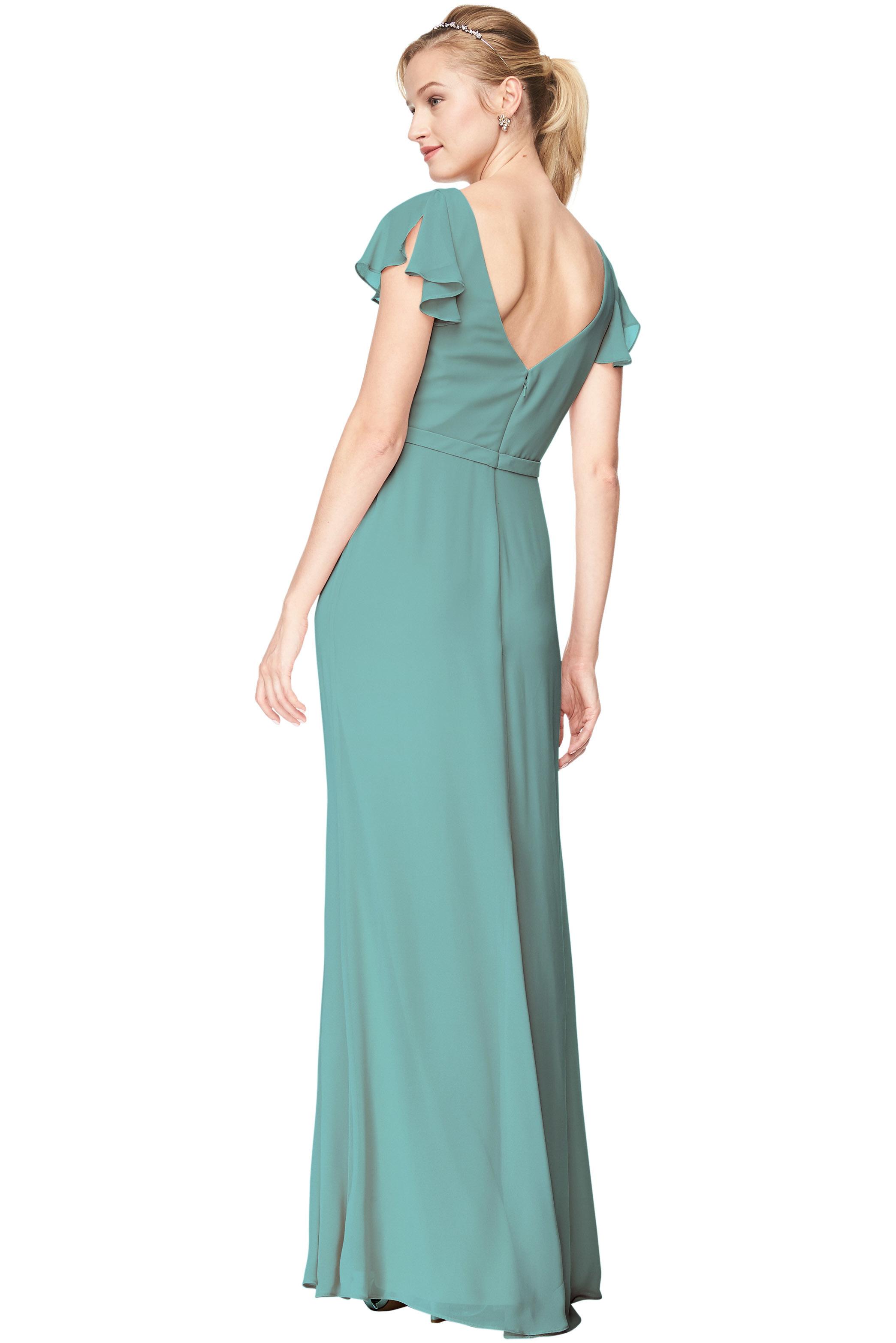 Bill Levkoff GLACIER Chiffon V-Neck, Cap Sleeve A-Line gown, $184.00 Back